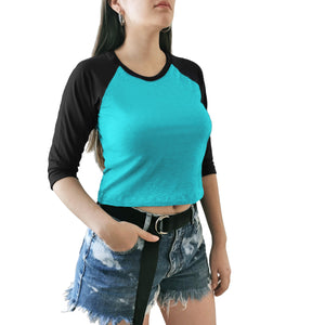 crop top dama azul negro