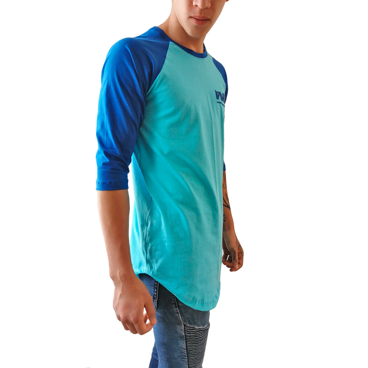 Playera Béisbolera Long Fit Swag Curva IDINK Azul