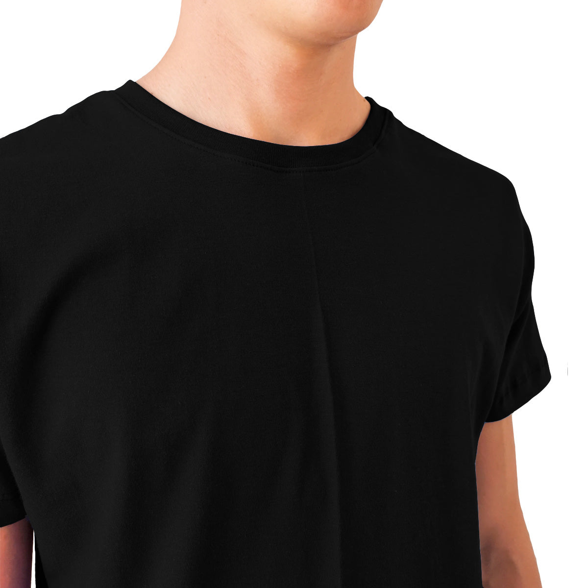 Playera Long Fit Swag Recta Color Blanco y Negro