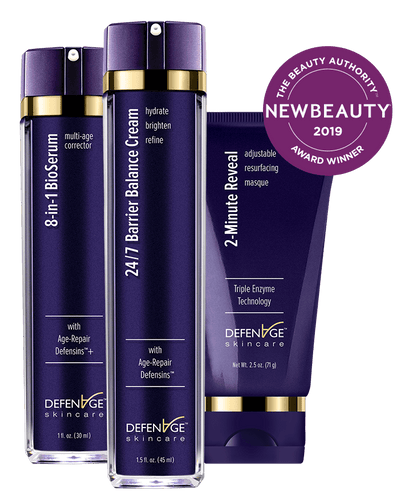 2-Minute Reveal Masque | Net Wt. 2.5 oz.24/7 Barrier Balance Cream | 1.5 fl. oz. 8-in-1 BioSerum | 1.0 fl. oz.