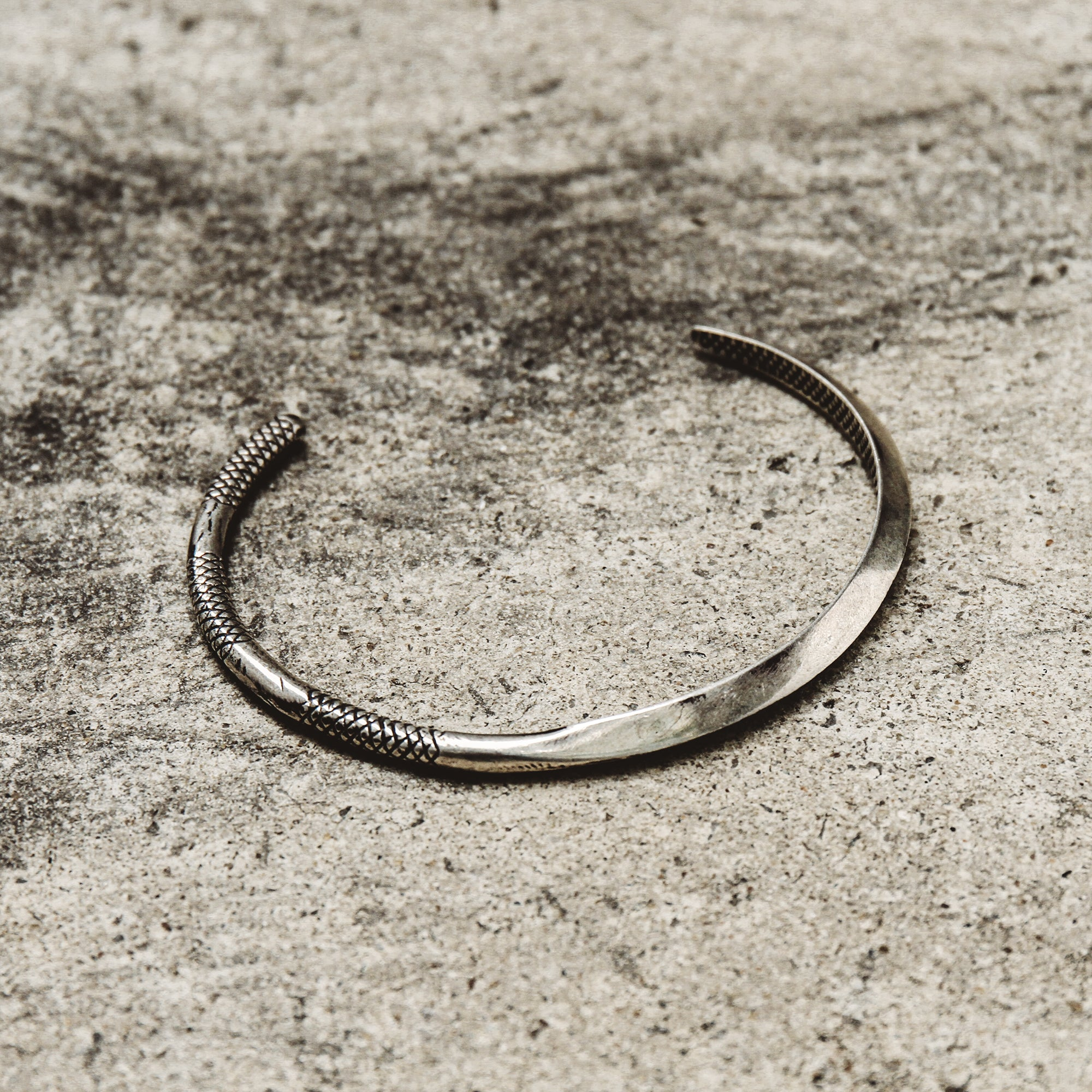 TRUST | Silver Thin Cuff Bracelet with Crosshatch