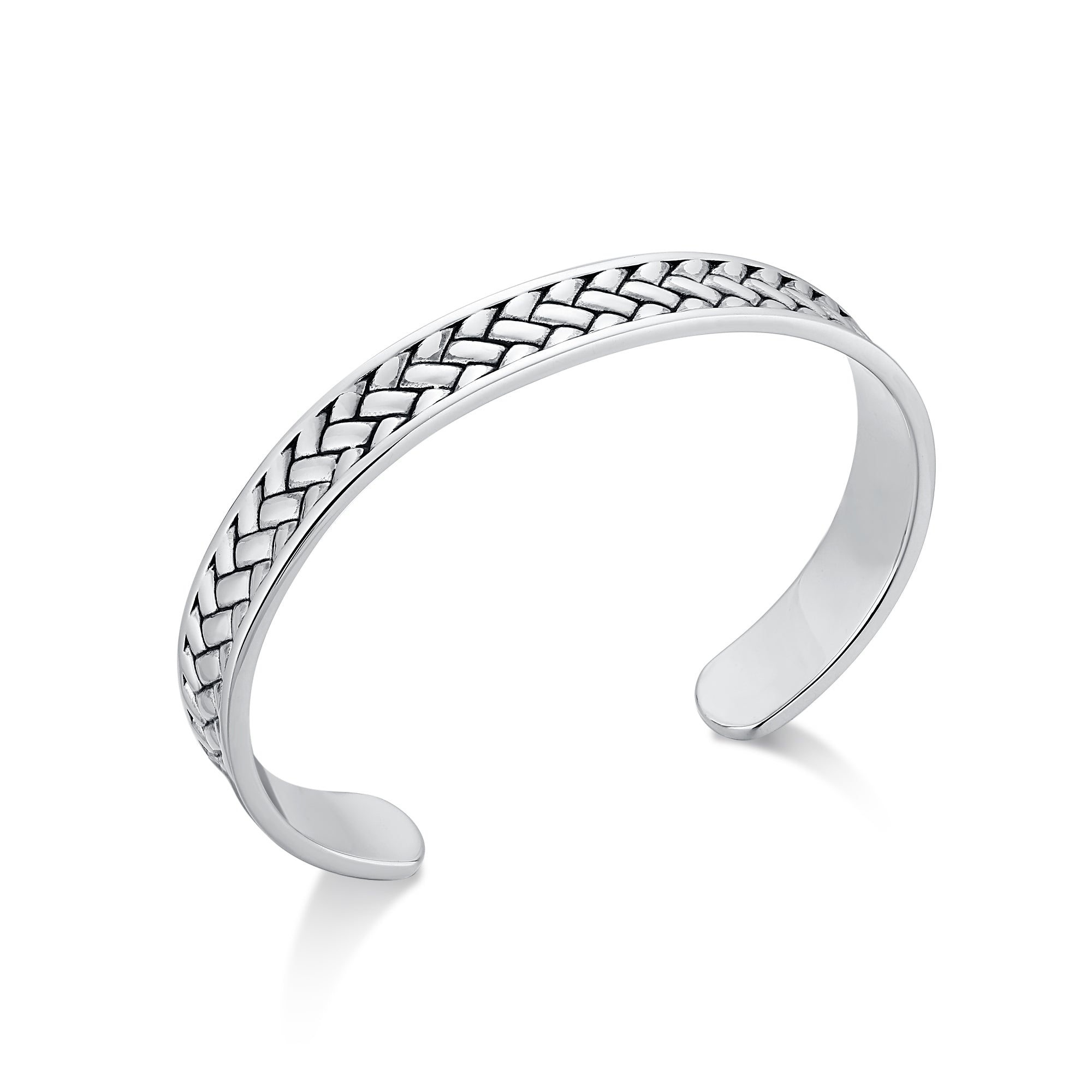 Rhodium Plated Narrow Cuff Bracelet with Woven Design