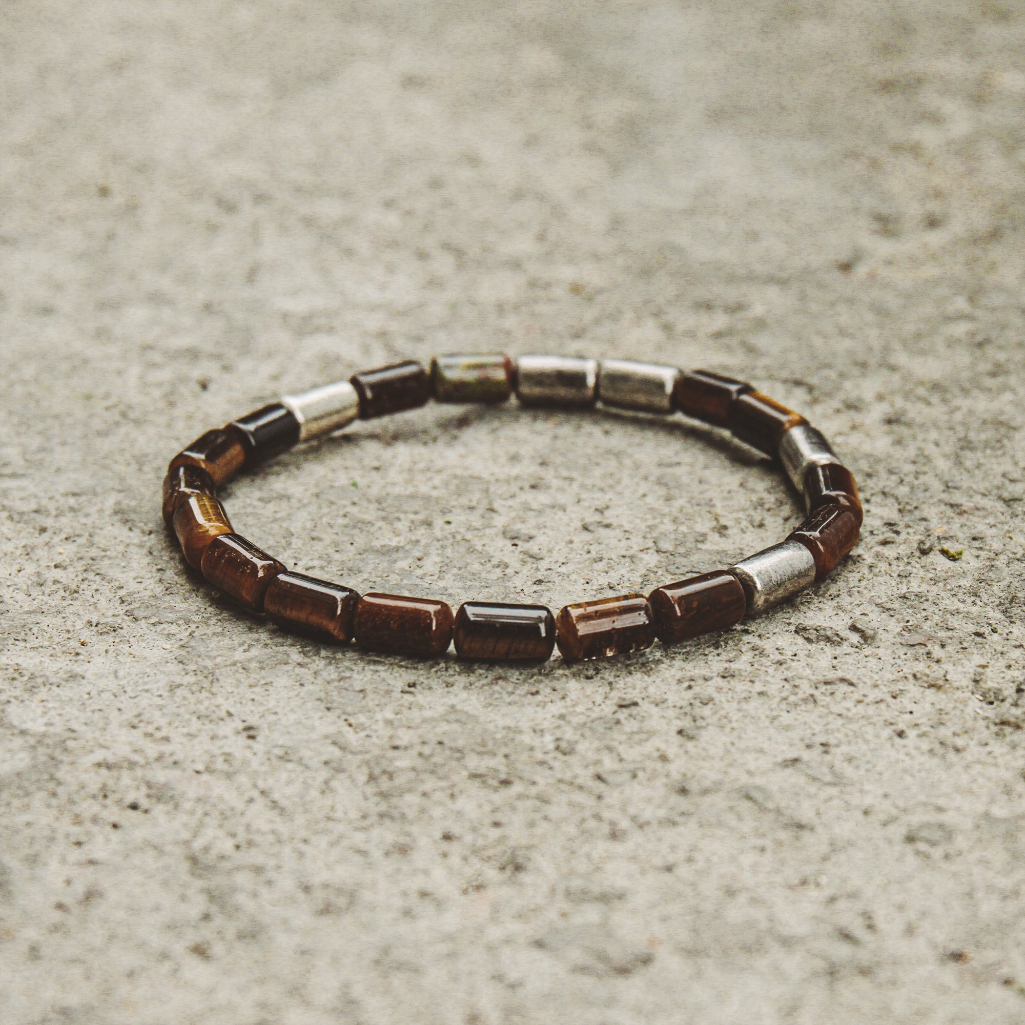 TIGER | Silver Bracelet with Tiger Eye and Black Oxidized Beads