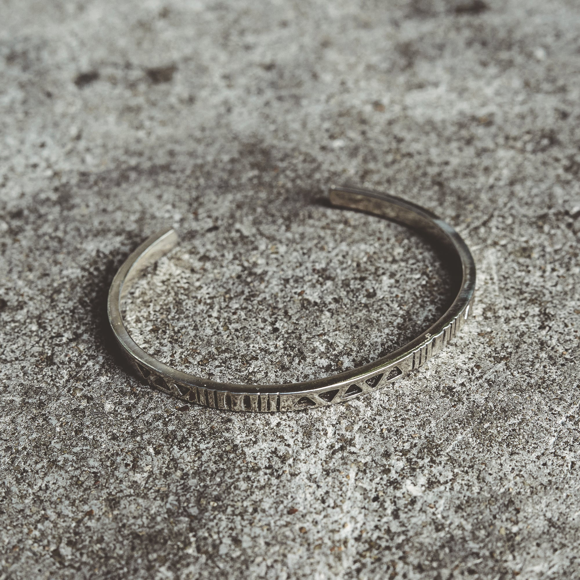 STRENGTH | Narrow Cuff Bracelet with Triangle and Bar Symbols