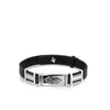 Silver Bracelet with Engraved Symbol Bars and Leather Band