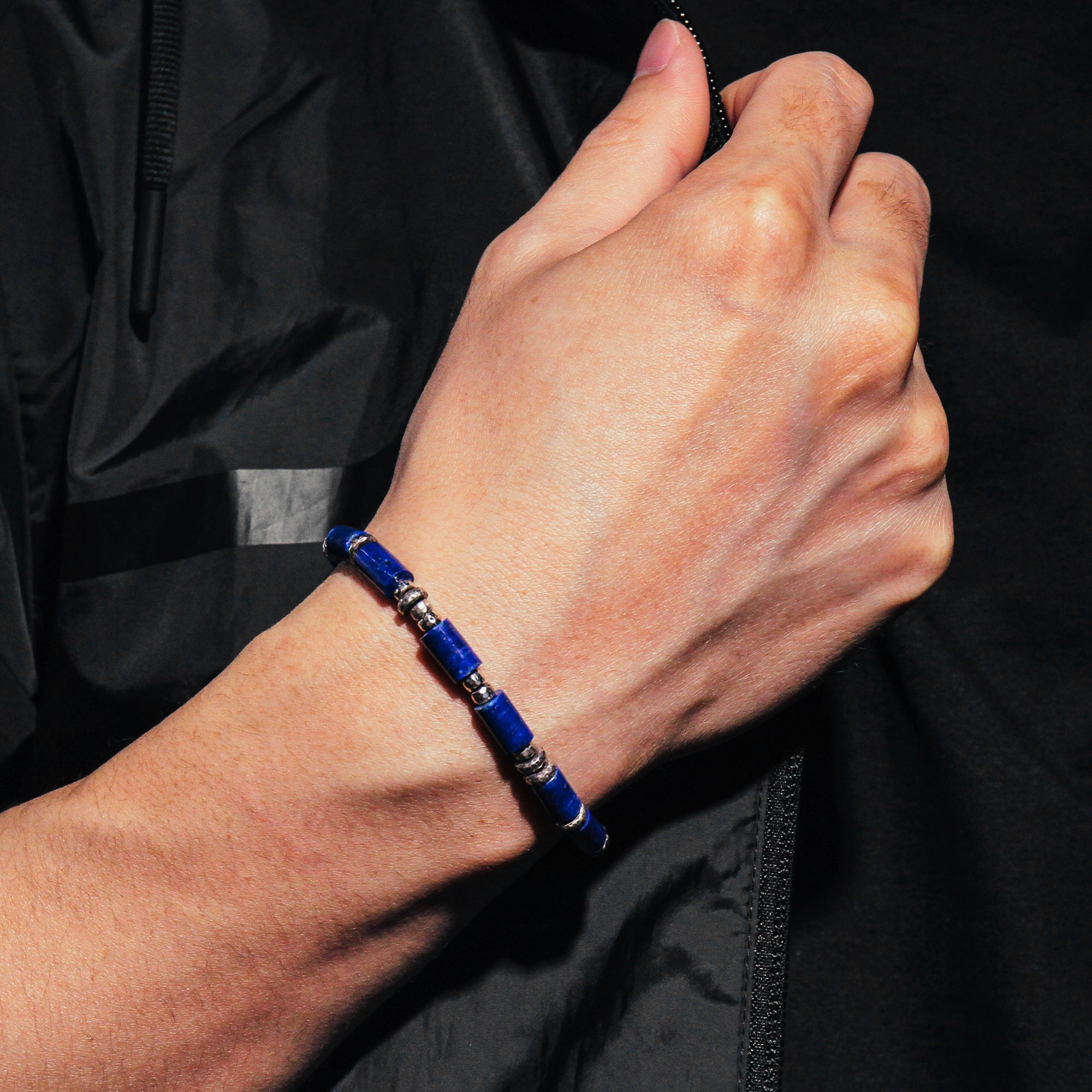COLUMBUS | Lapis Cord Bracelet with Silver Beads