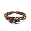 Brown Leather Knot Bracelet with Anchor