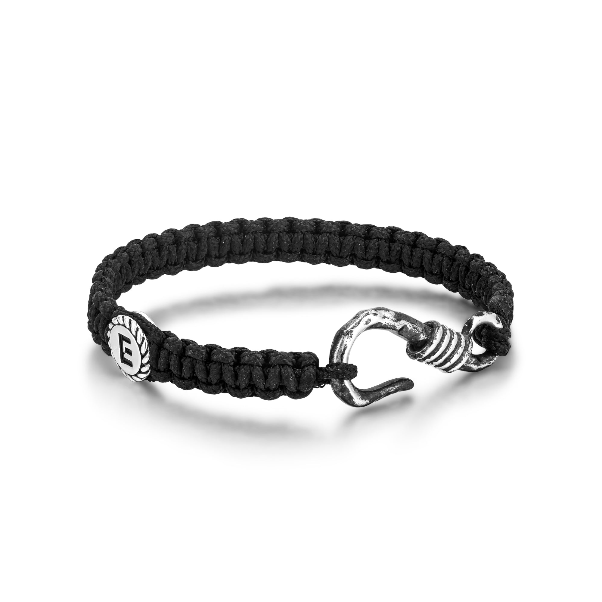 Black Woven Bracelet with Hook Closure and Small E Disk