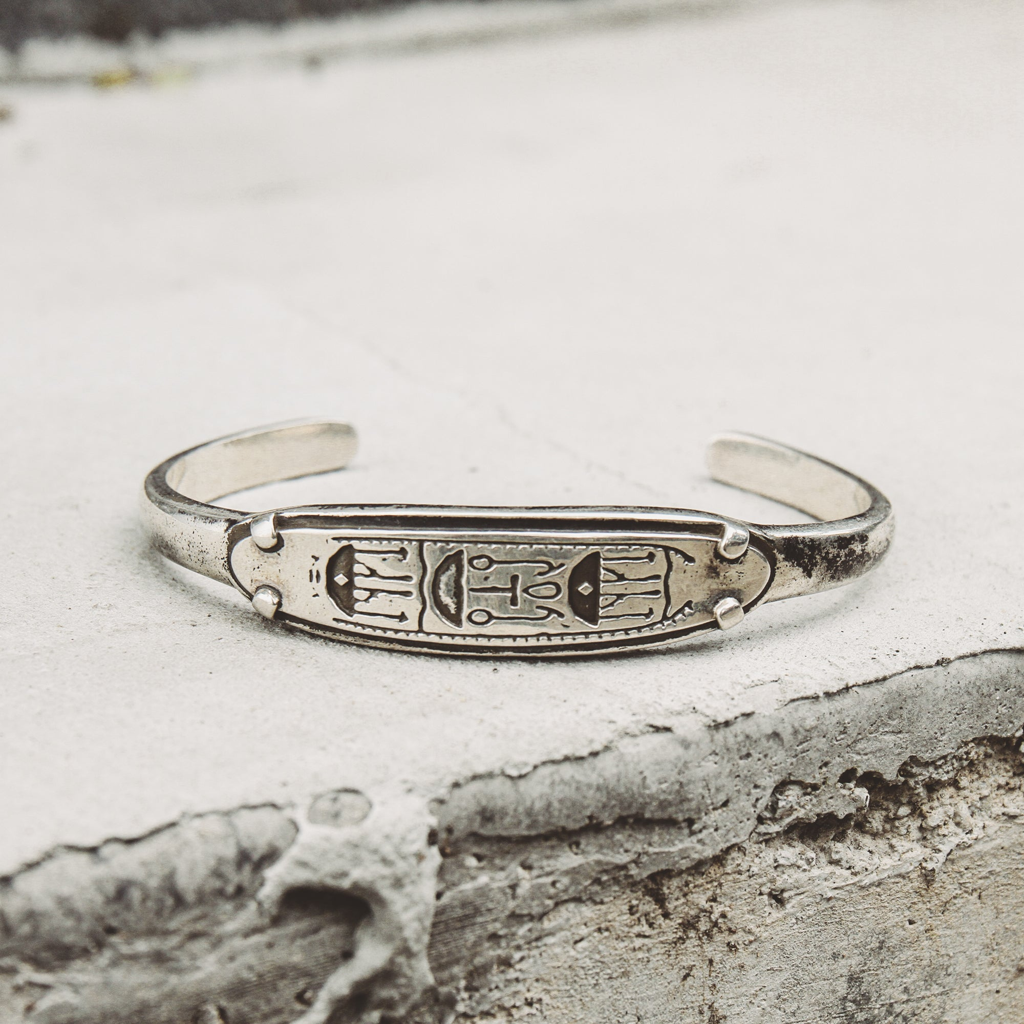CHIEF | Silver Cuff Bracelet with Hieroglyphics