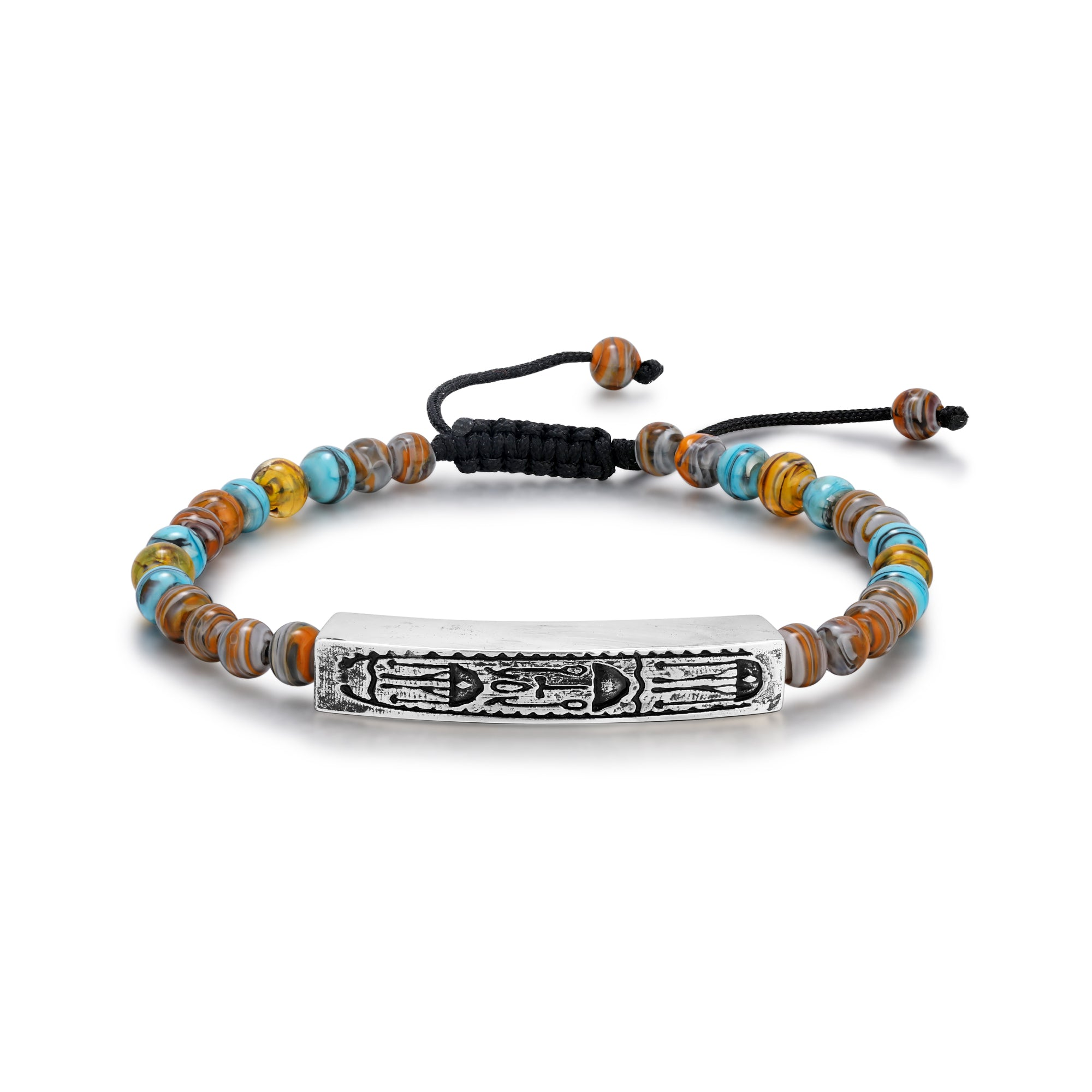 Blue and Brown Murano Glass Bead Bracelet with Hieroglyphics Bar