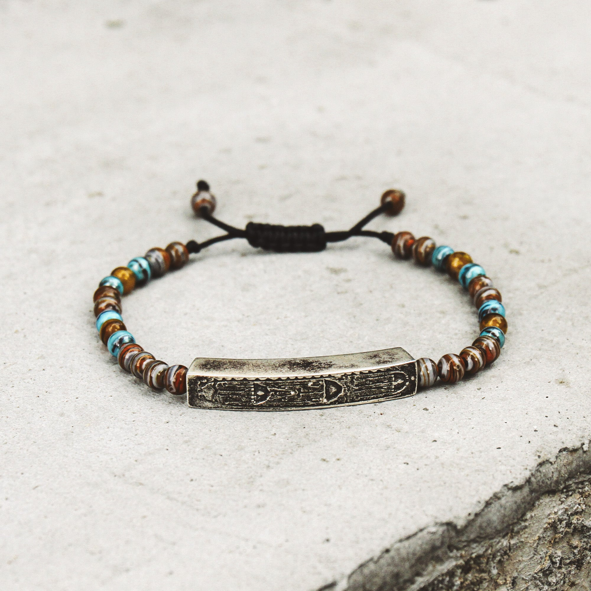 VITAL | Blue and Brown Murano Glass Bead Bracelet with Hieroglyphics Bar
