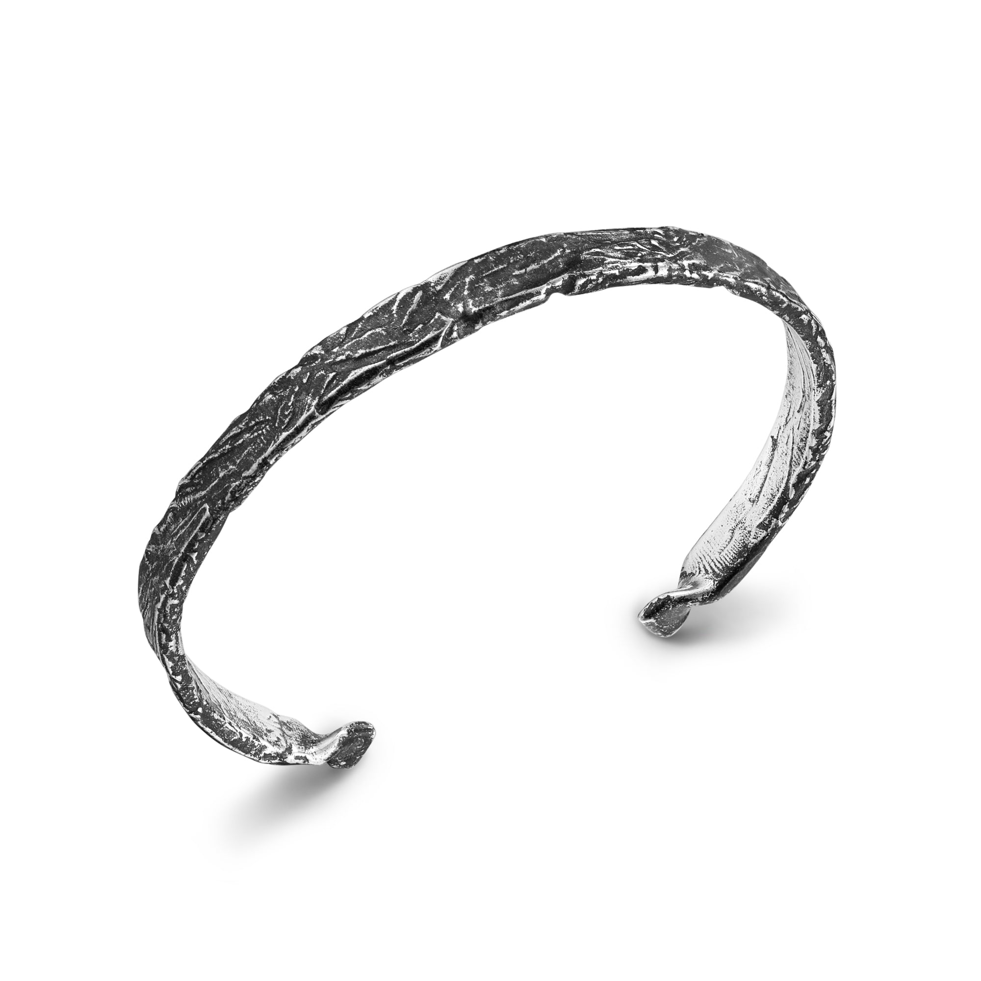 Deeply Textured Slim Cuff Bracelet
