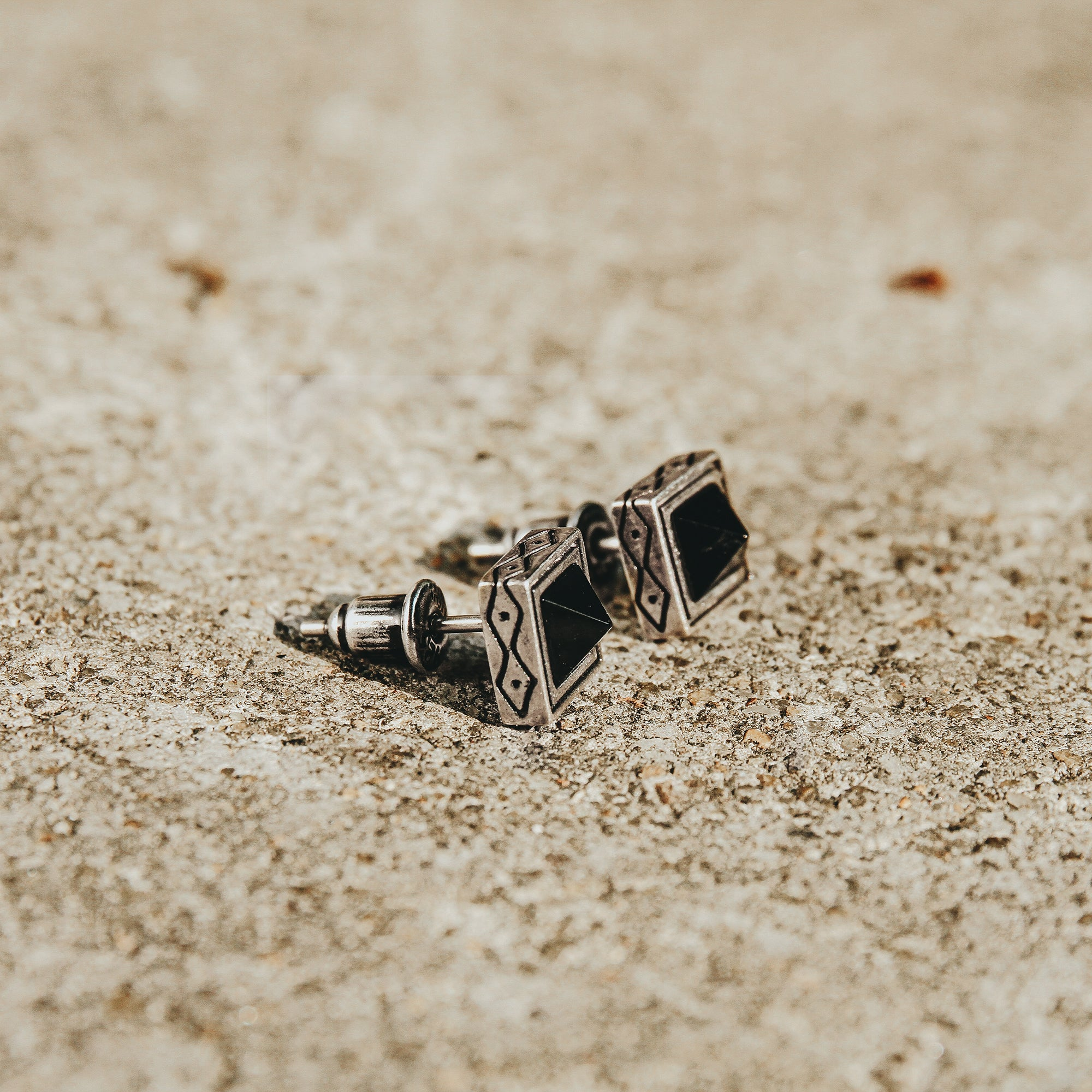 GUARDIAN | Silver Square Agate Stud Earrings
