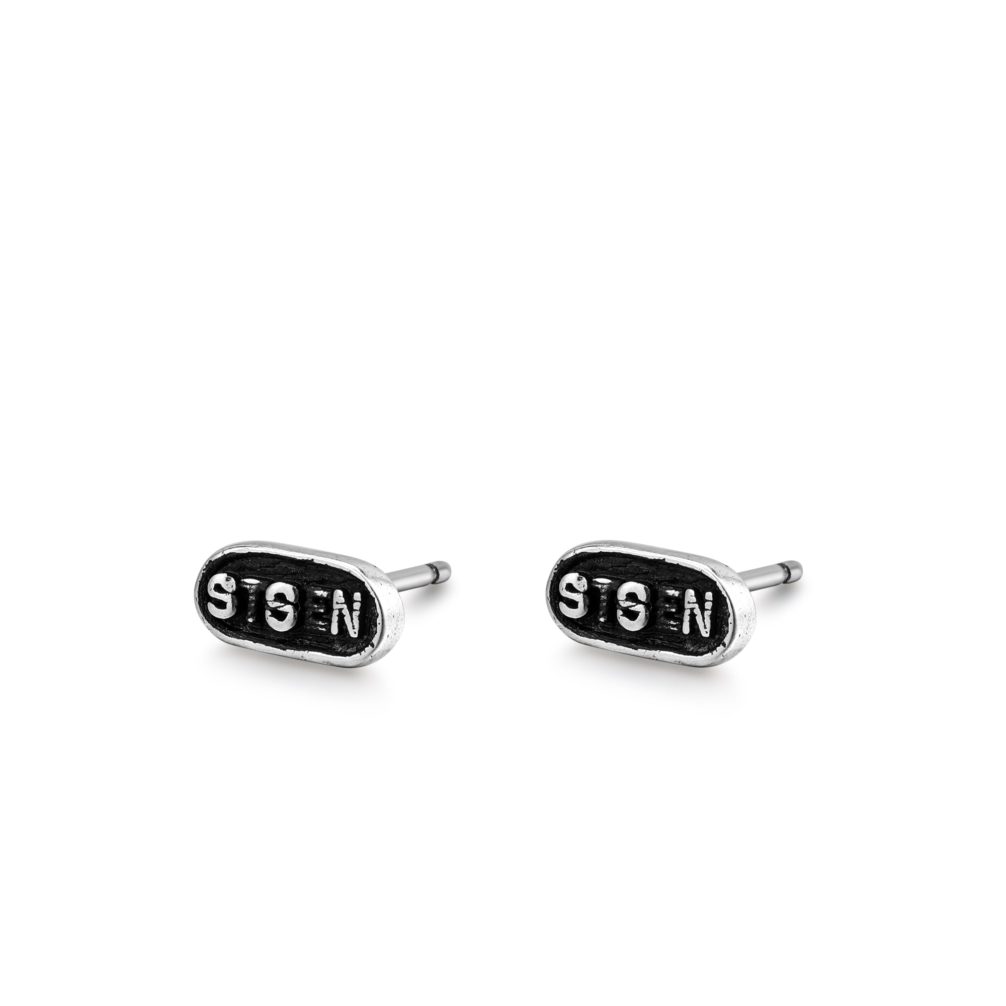 Silvler Oval Lettered Stud Earrings