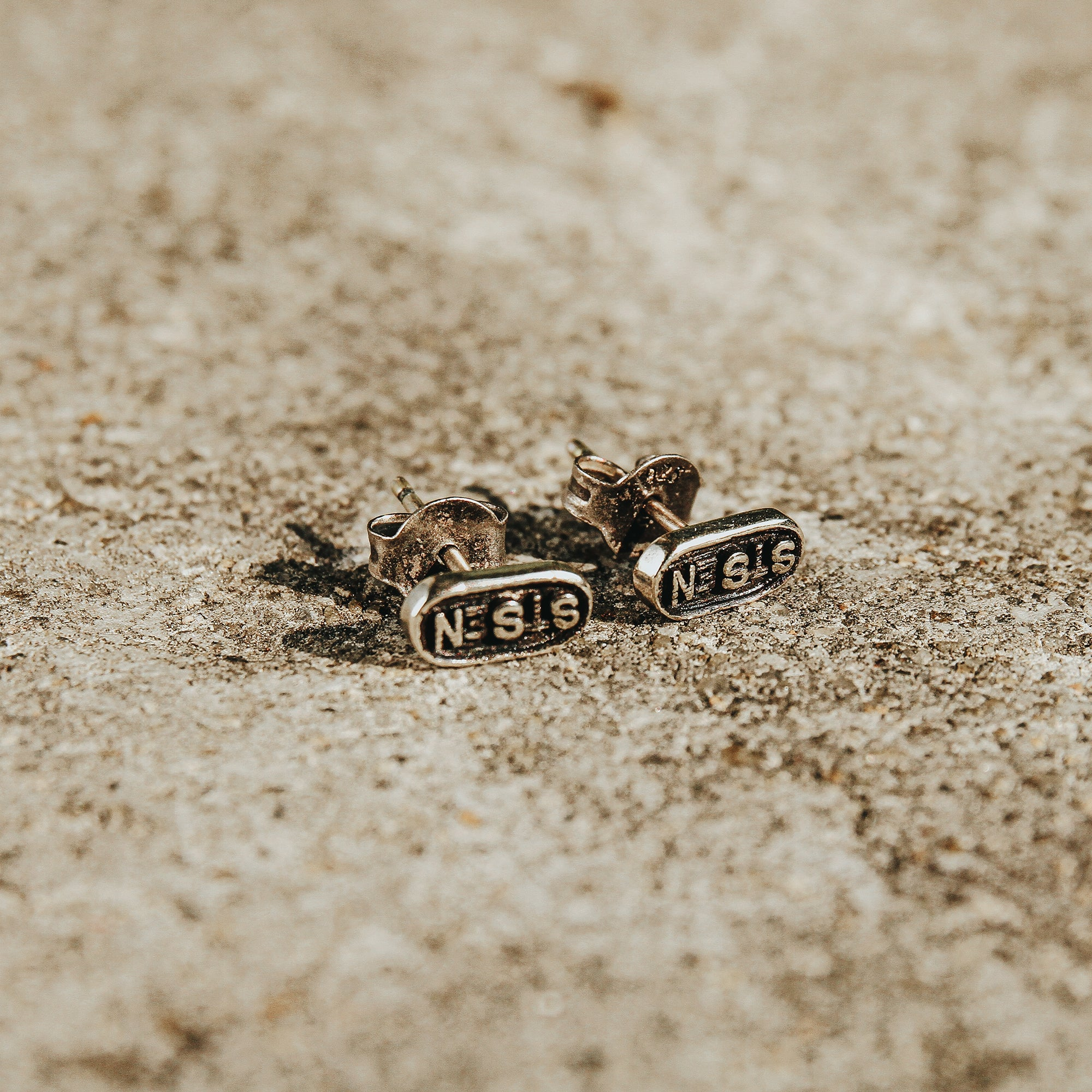 OVAL | Silvler Oval Lettered Stud Earrings
