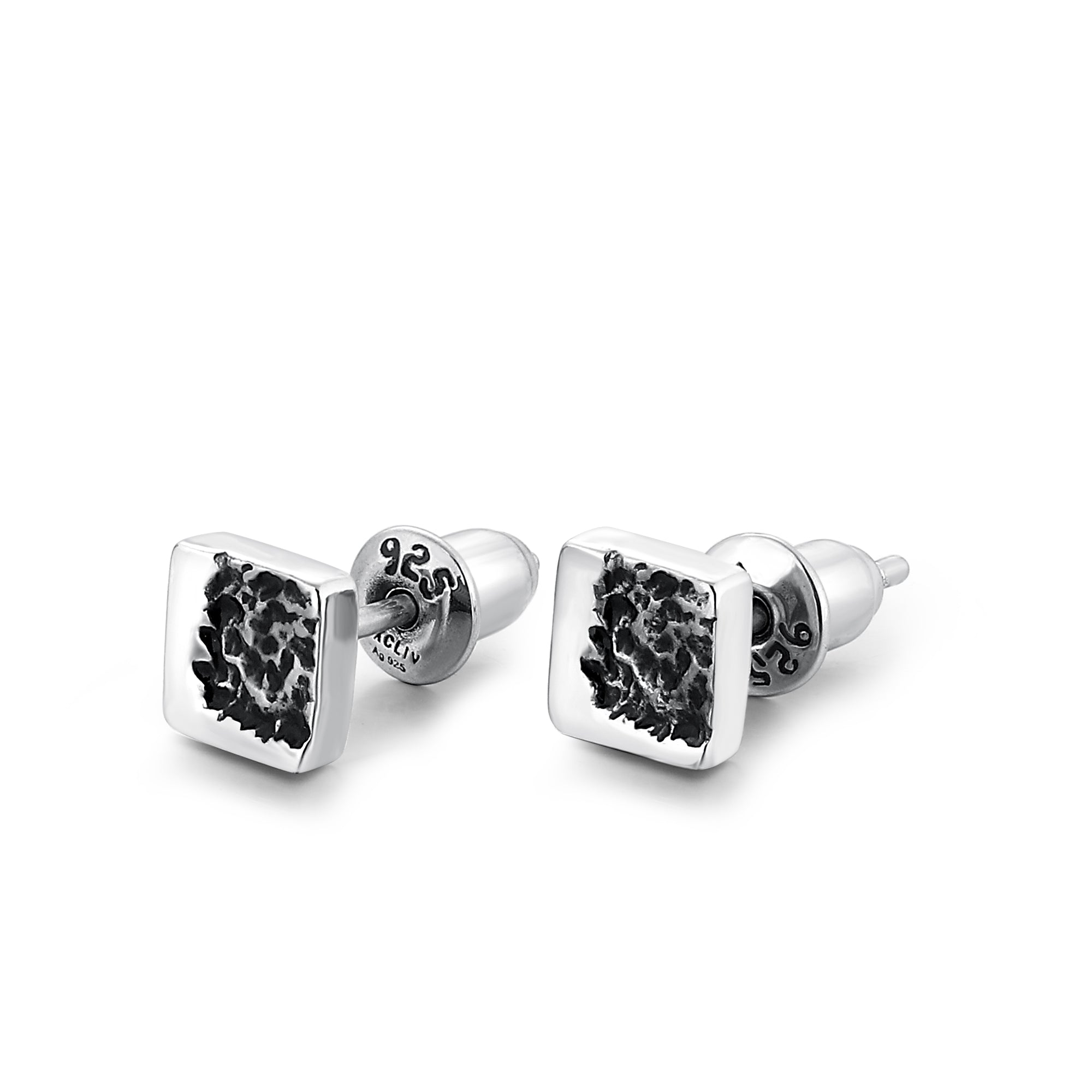 VOLCANO | Silver Square Textured  Stud Earrings