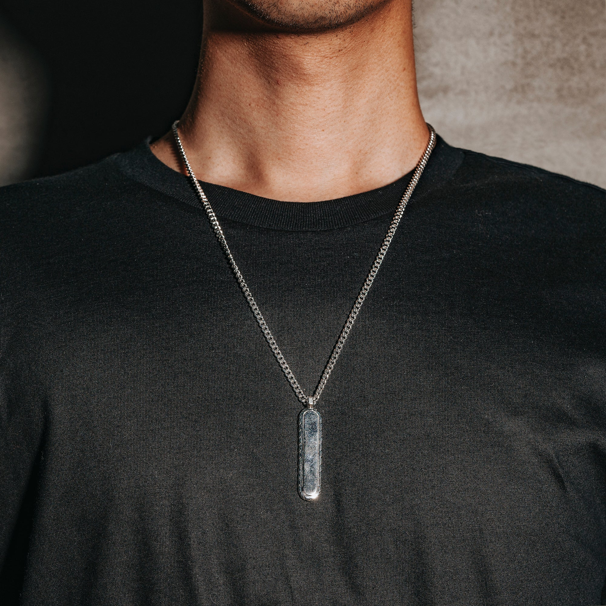 JESTER | Rhodium Plated Necklace with Long Oval Pendant