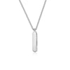 Rhodium Plated Necklace with Long Oval Pendant