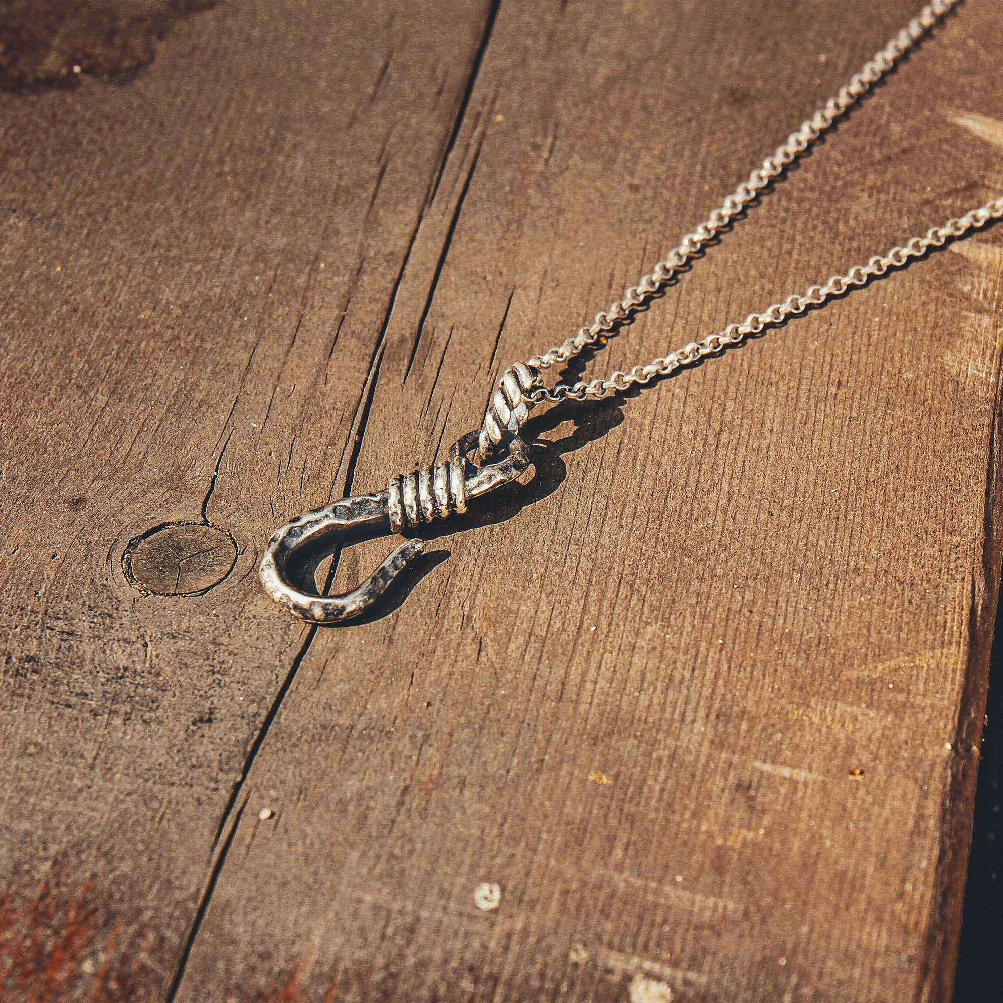 HOOKED | Silver Necklace with Fish Hook Pendant
