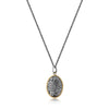 Silver Necklace with Gold Framed Oval Textured Pendant
