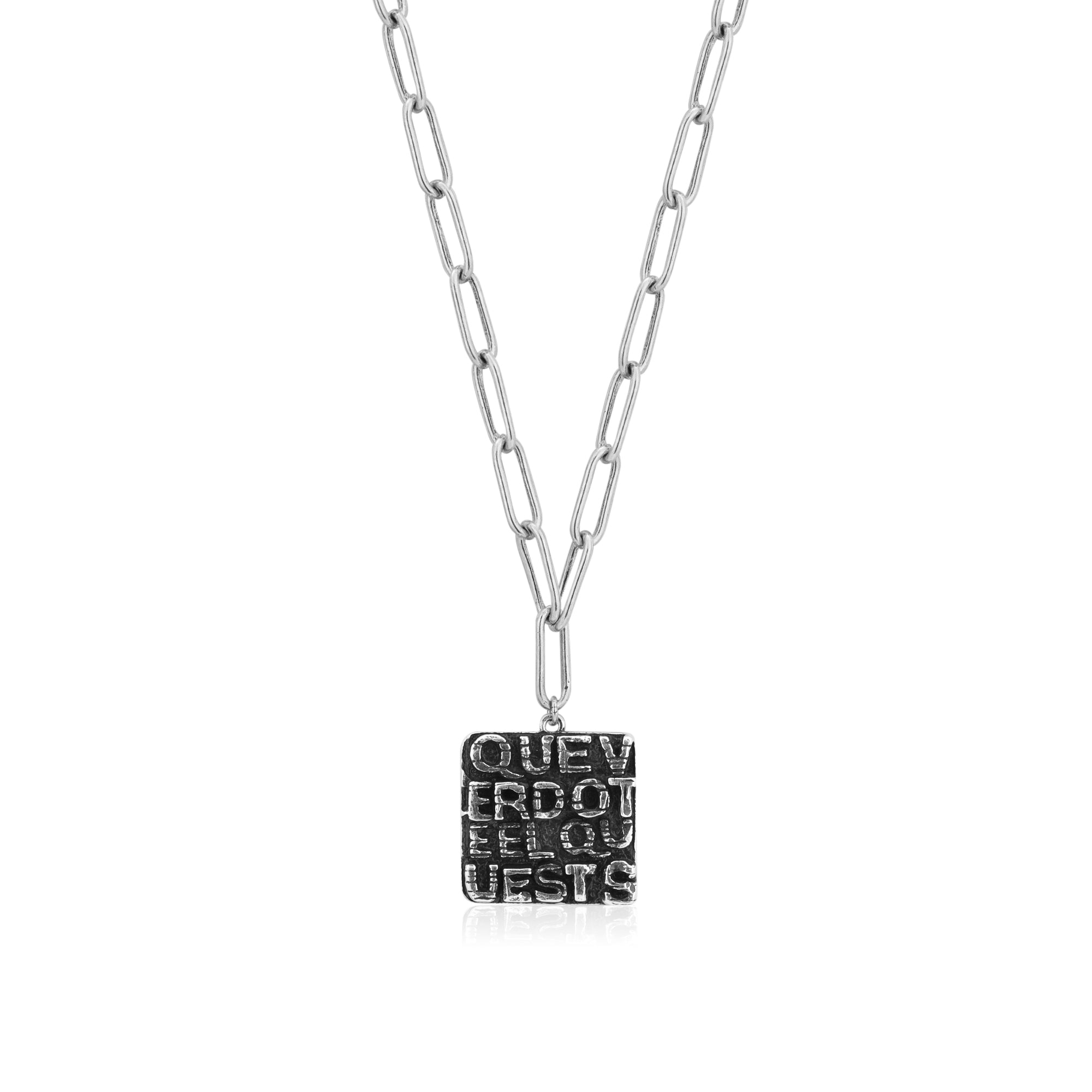 Square Lettered Pendant Long Link Chain Necklace