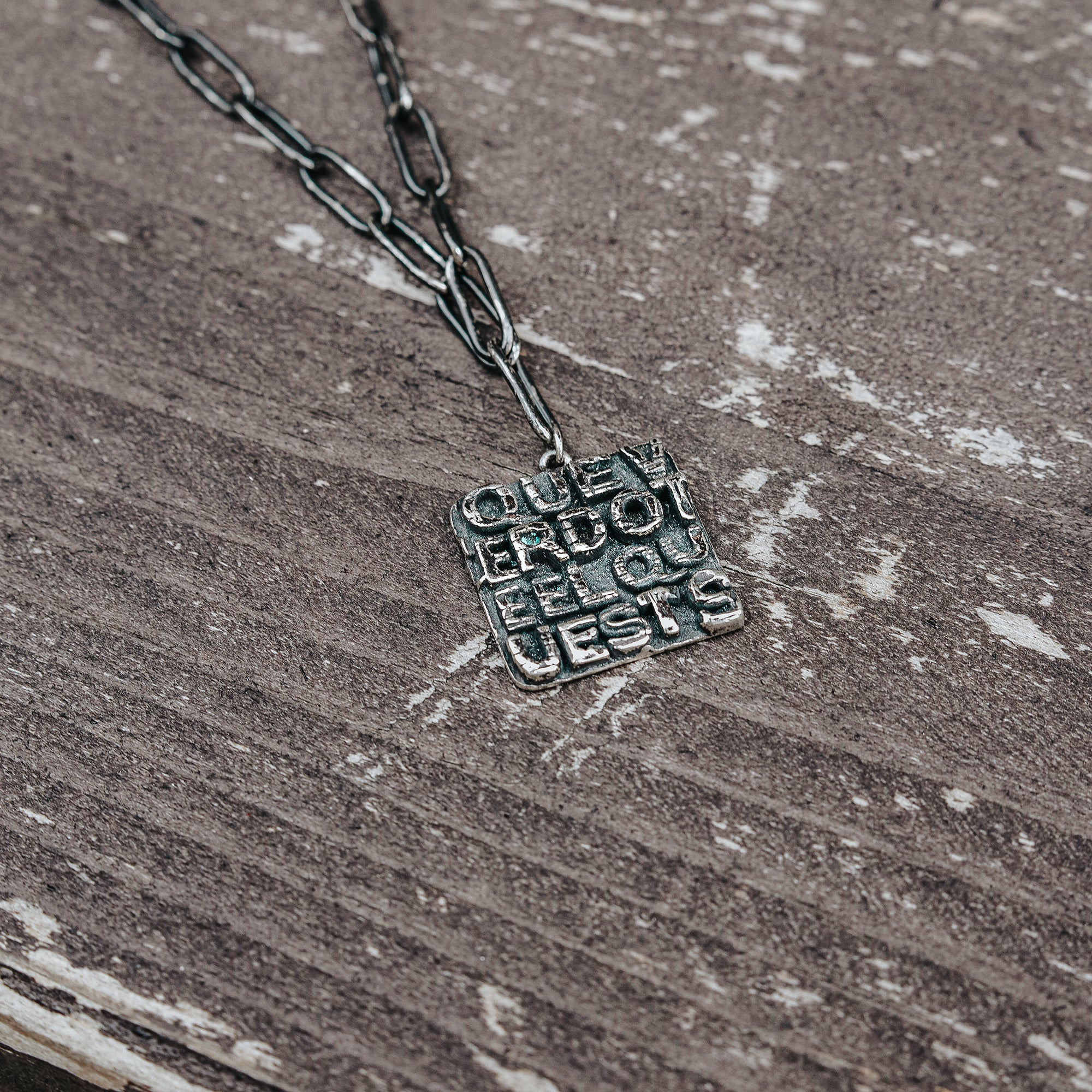 REX | Square Lettered Pendant Long Link Chain Necklace