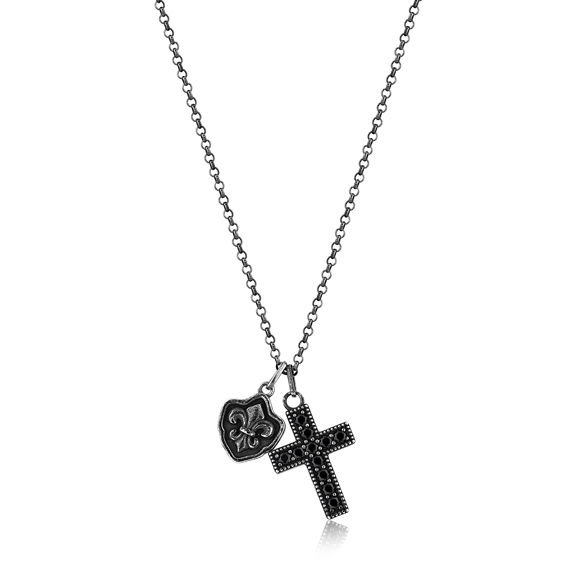 Silver Necklace with Fleur De Lis and Cross Pendants