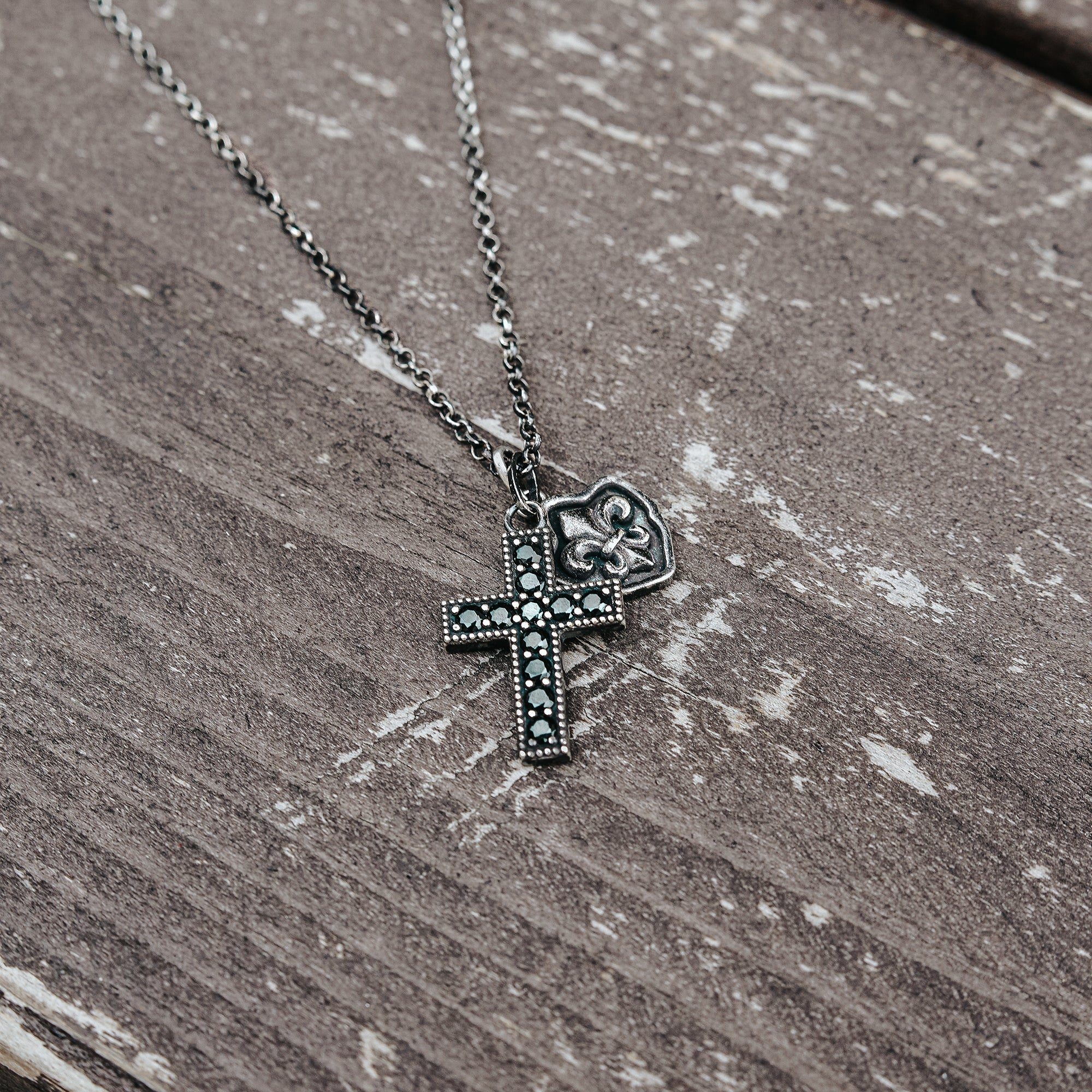 ZEEK | Silver Necklace with Fleur De Lis and Cross Pendants