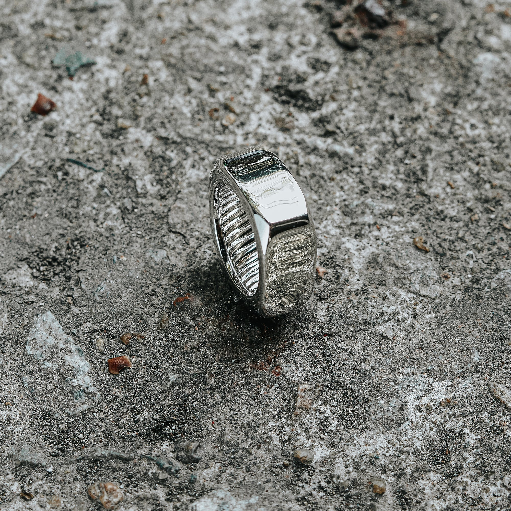 SAVAGE | Rhodium Plated Multi-Dimensional Wide Band