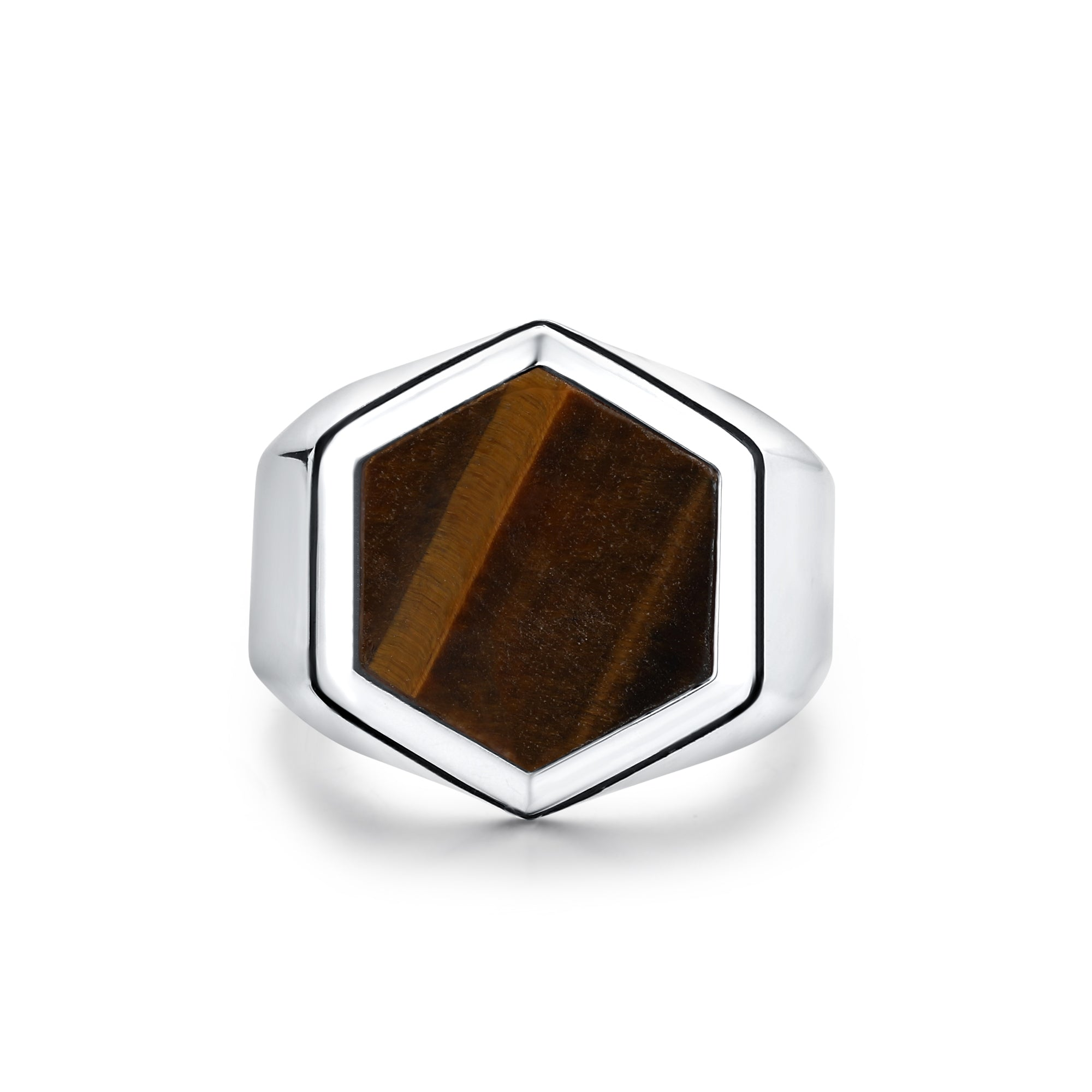 Rhodium Plated Ring with Large Hexagonal Tiger Eye