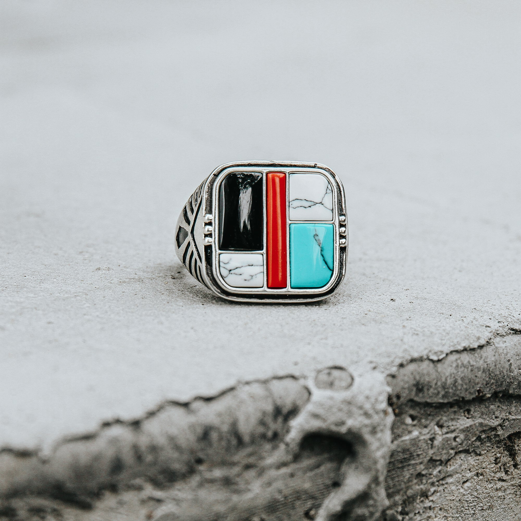 TORNADO | Silver Ring For Men With Four-Color Stones