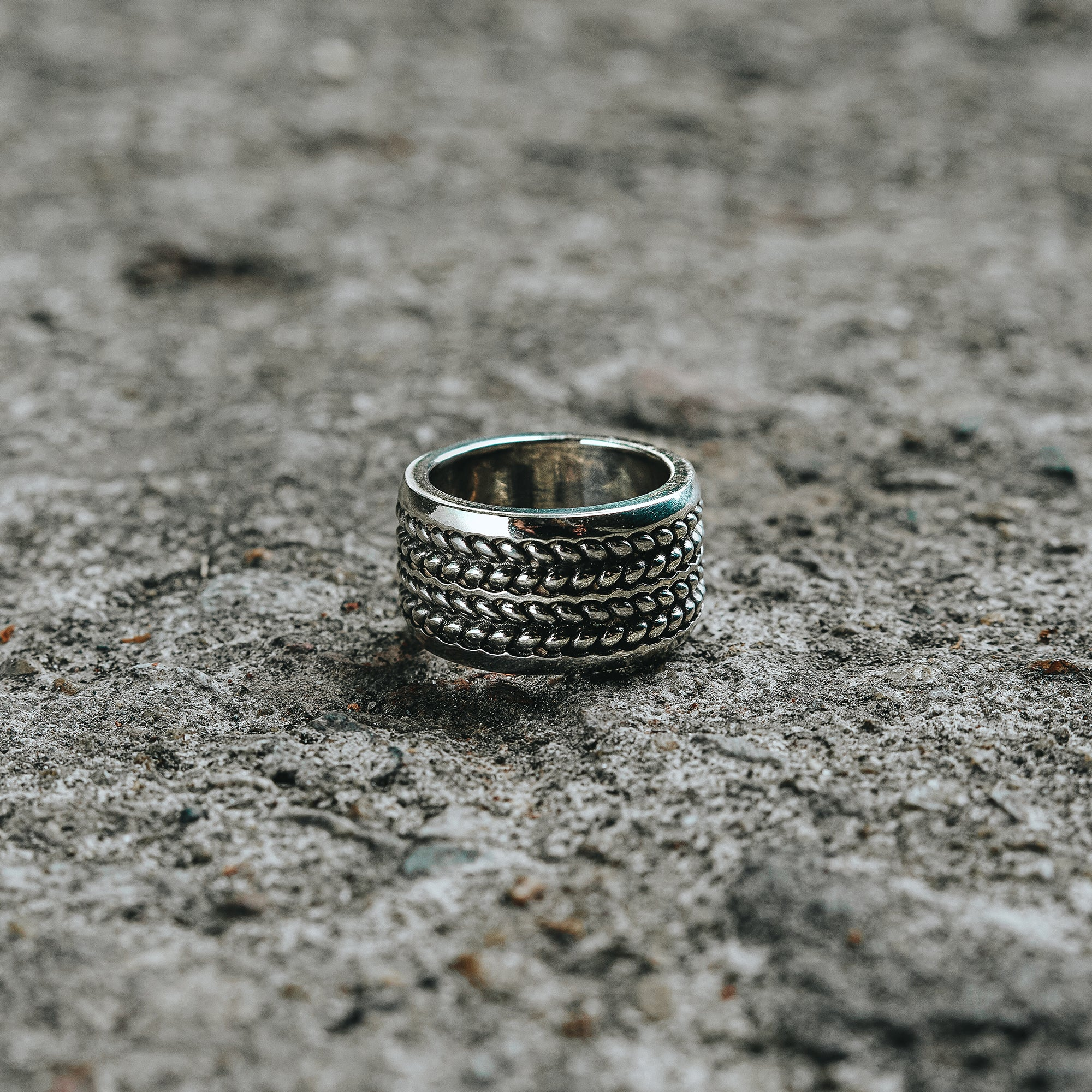 AGROUND | Ring with Black Oxidized Seed Design