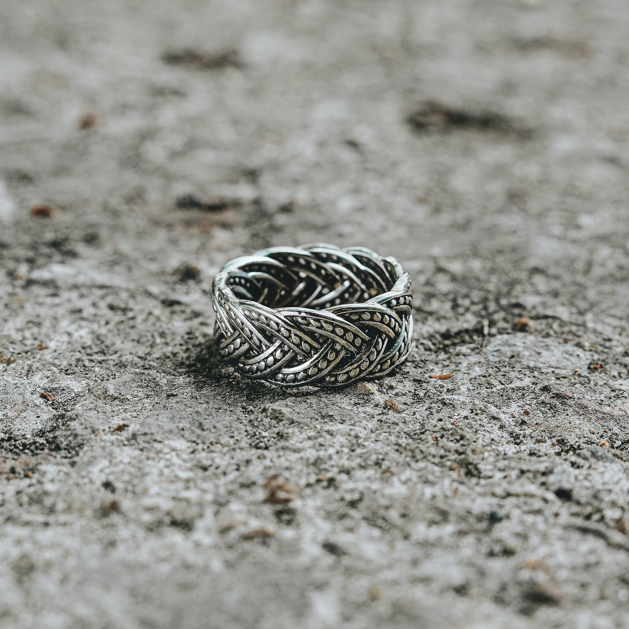 BRAID |  Silver Ring For Men With Braided Rope