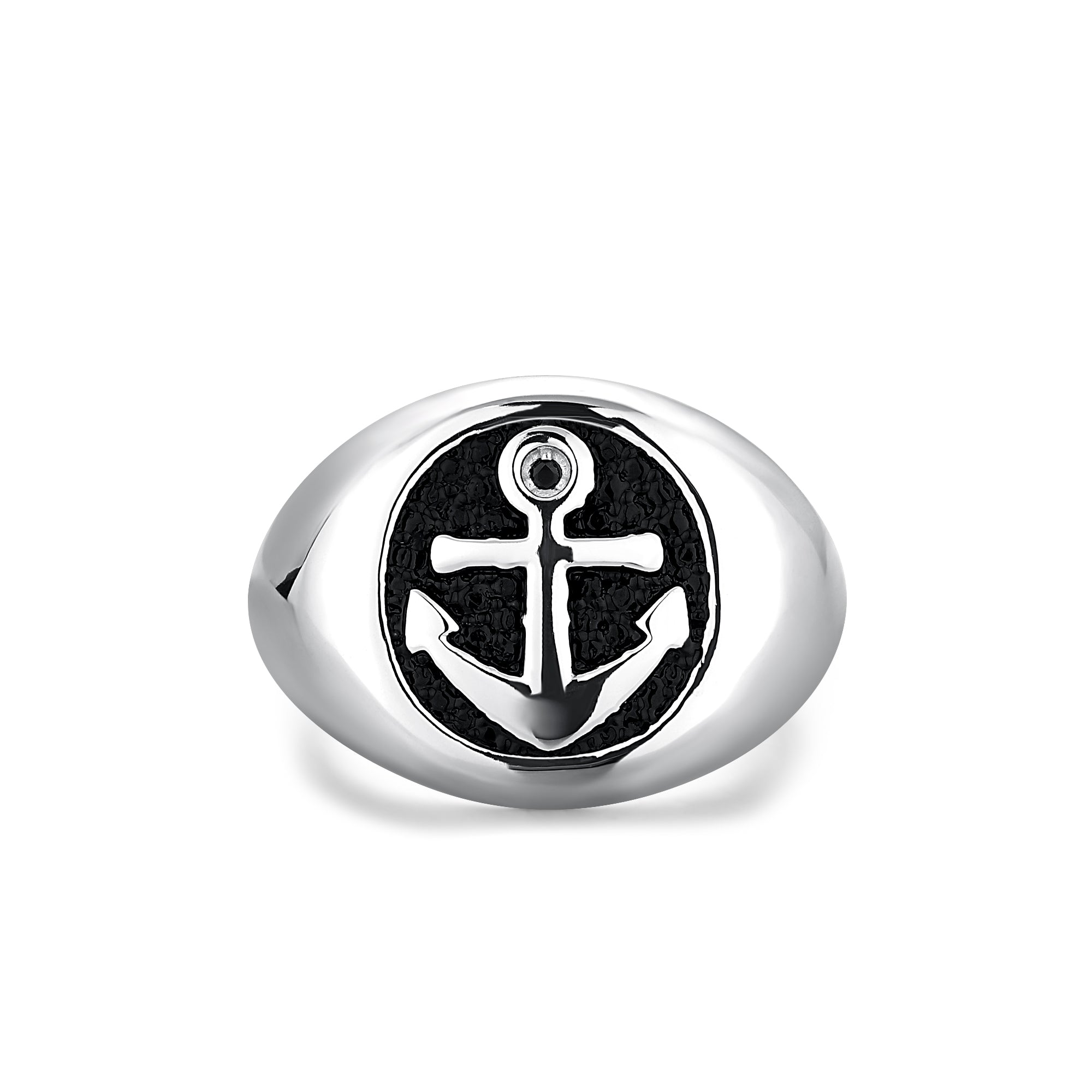 Sterling Silver Oval Ring with Anchor