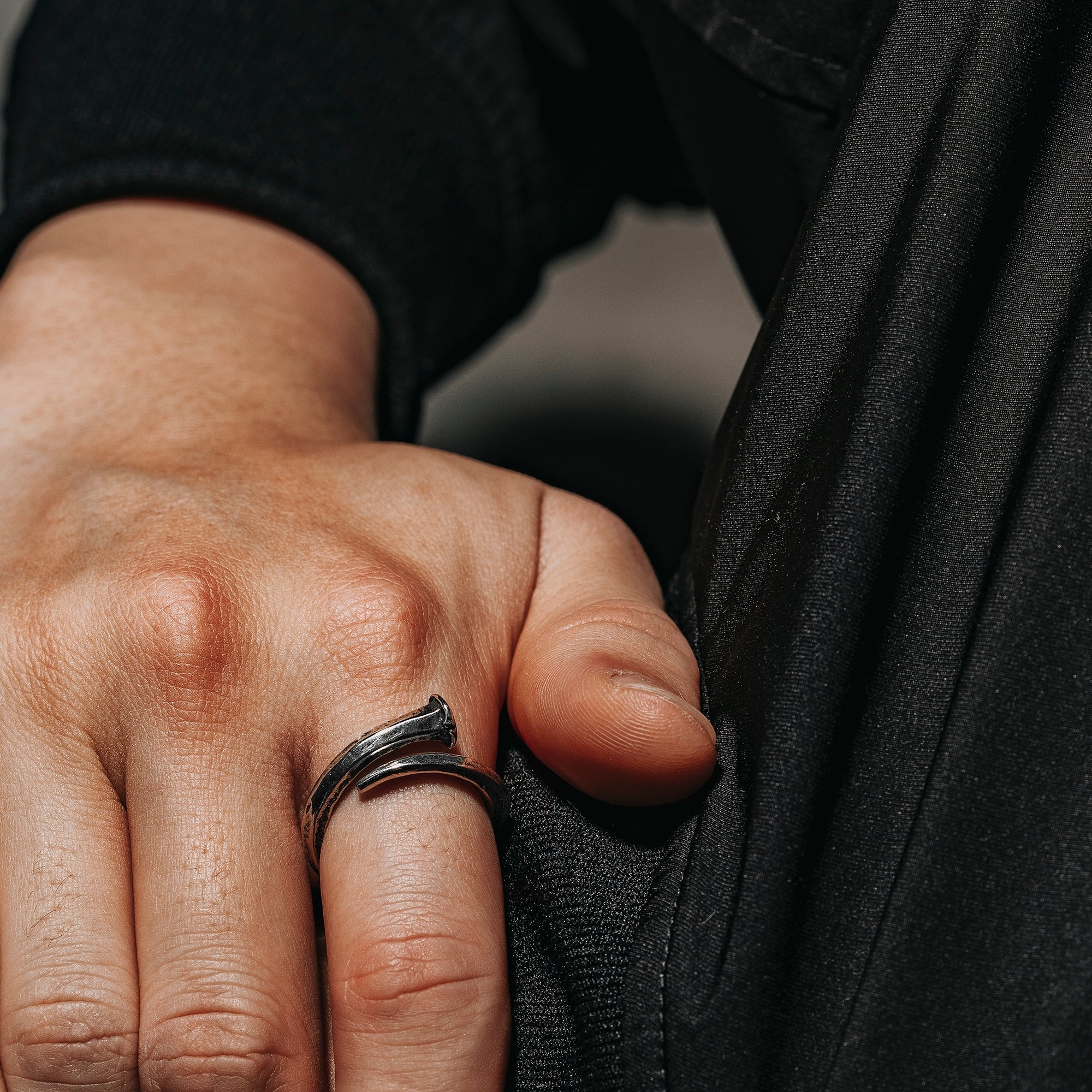 nail shaped Black Oxidized Silver ring