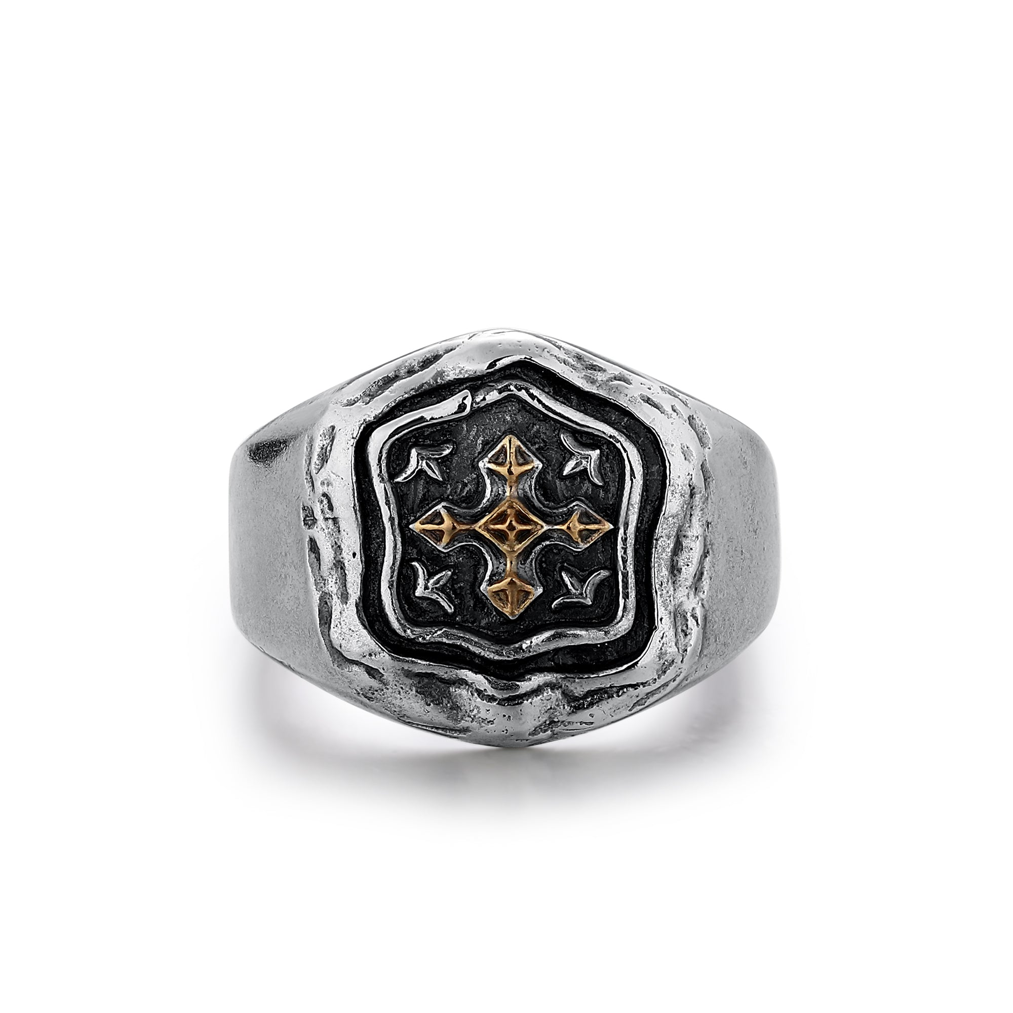 Silver Ring with Gold Highlighted Ornate Cross
