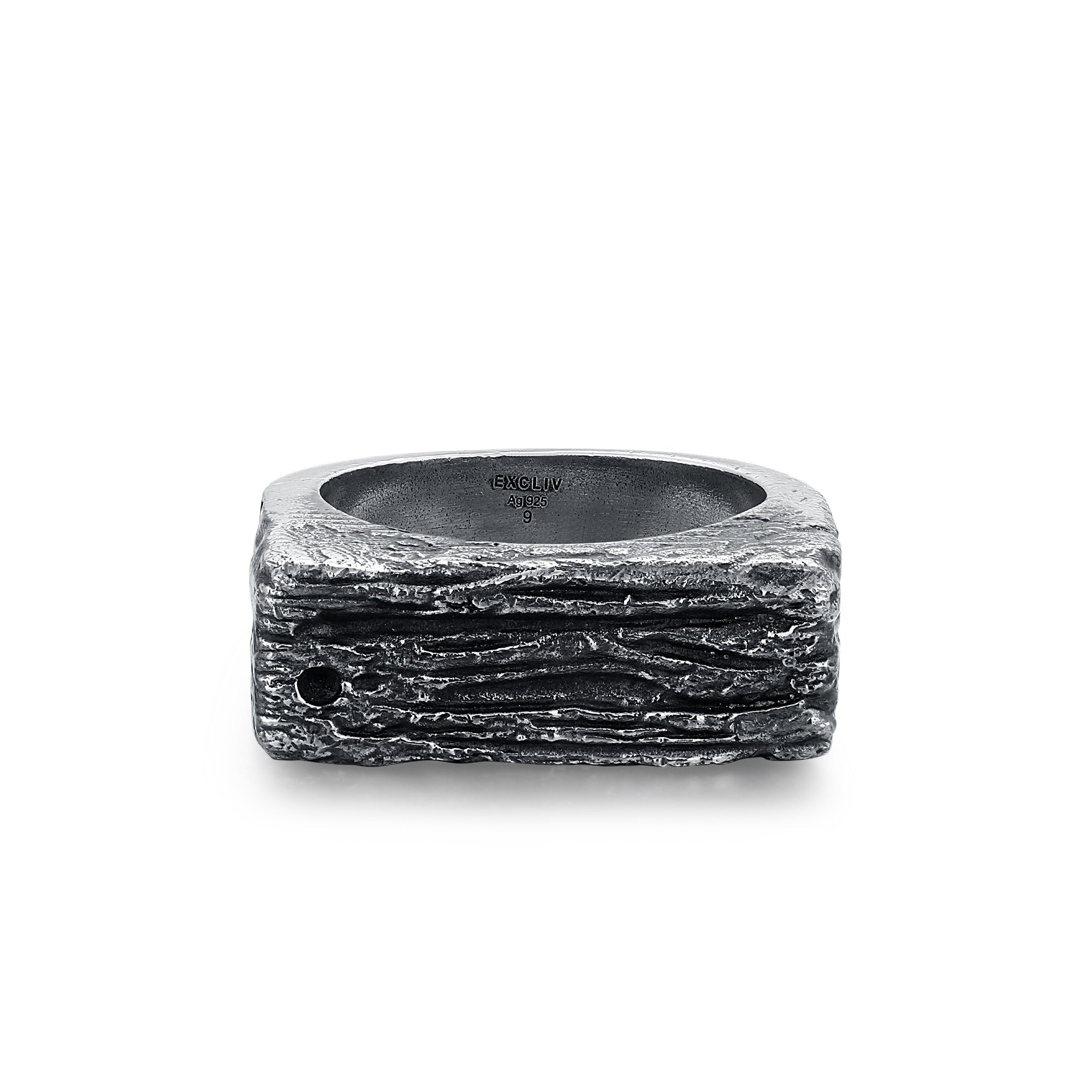 Silver Textured Rectangle Ring
