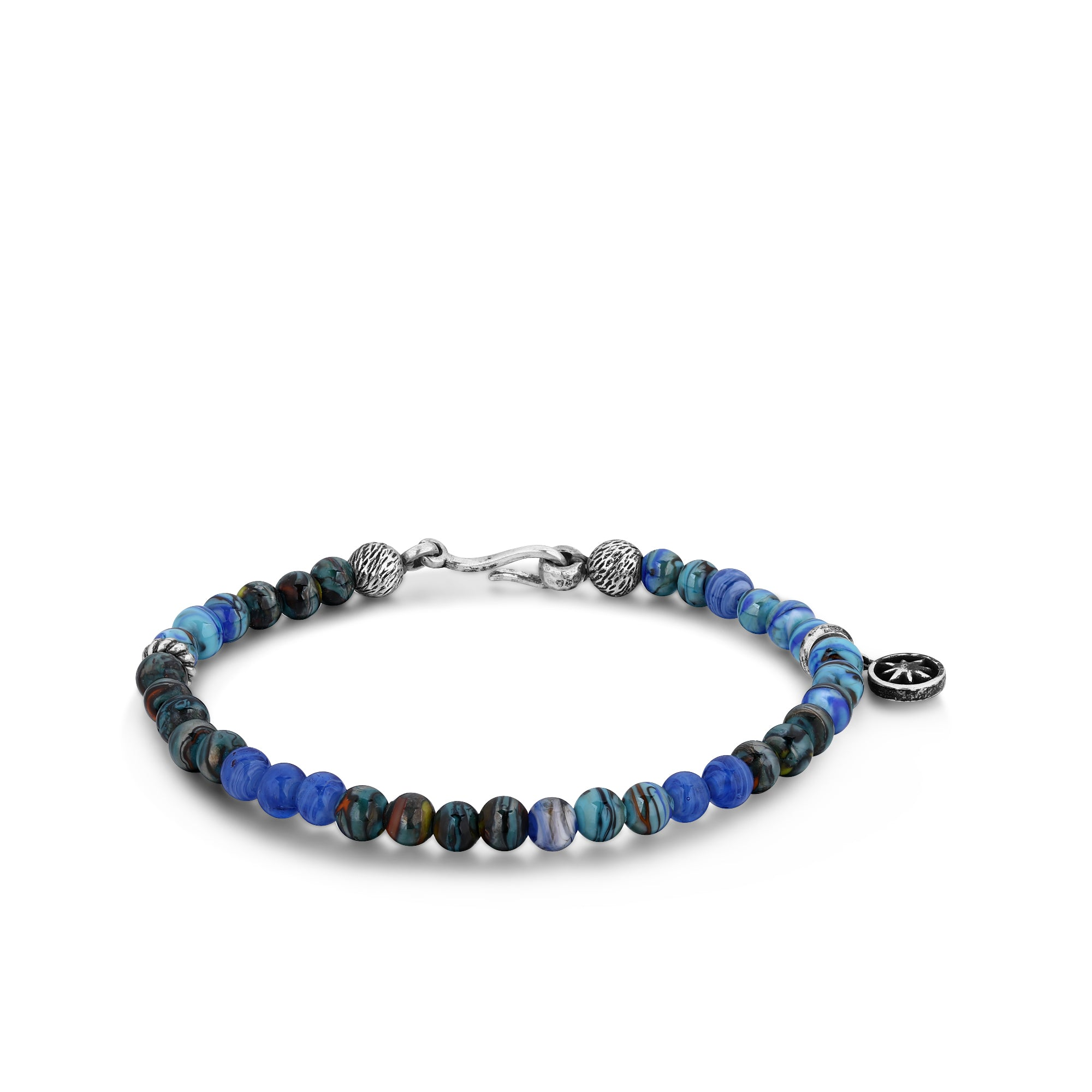 Silver Bracelet with Black and Blue Murano Beads and Hook Clasp
