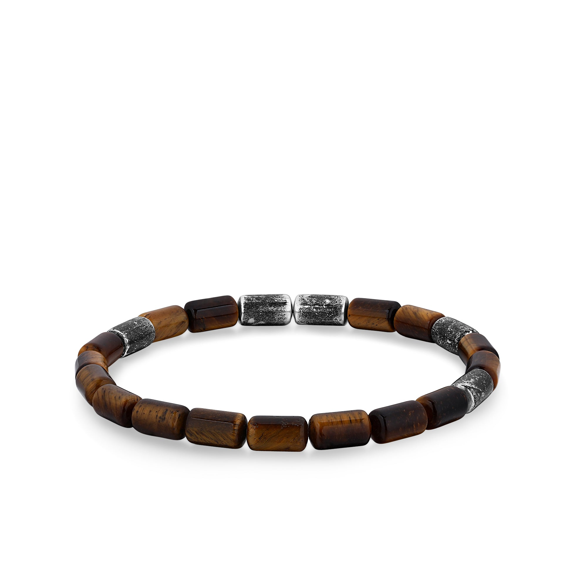 Silver Bracelet with Tiger Eye and Black Oxidized Beads