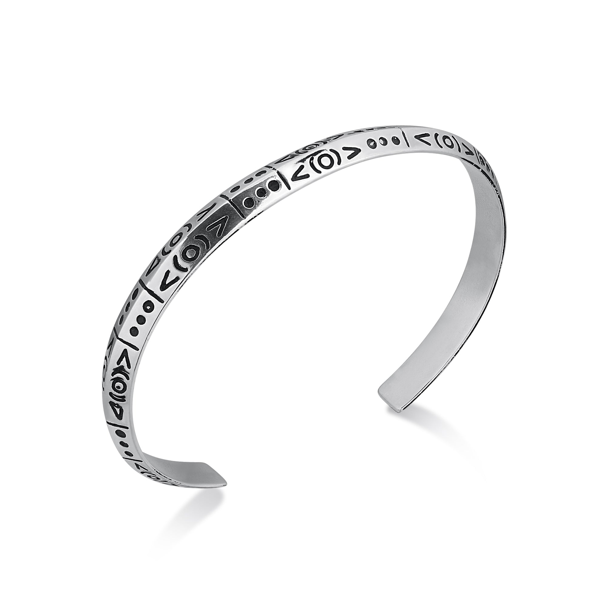Cuff Narrow Cuff Bracelet with Symbols