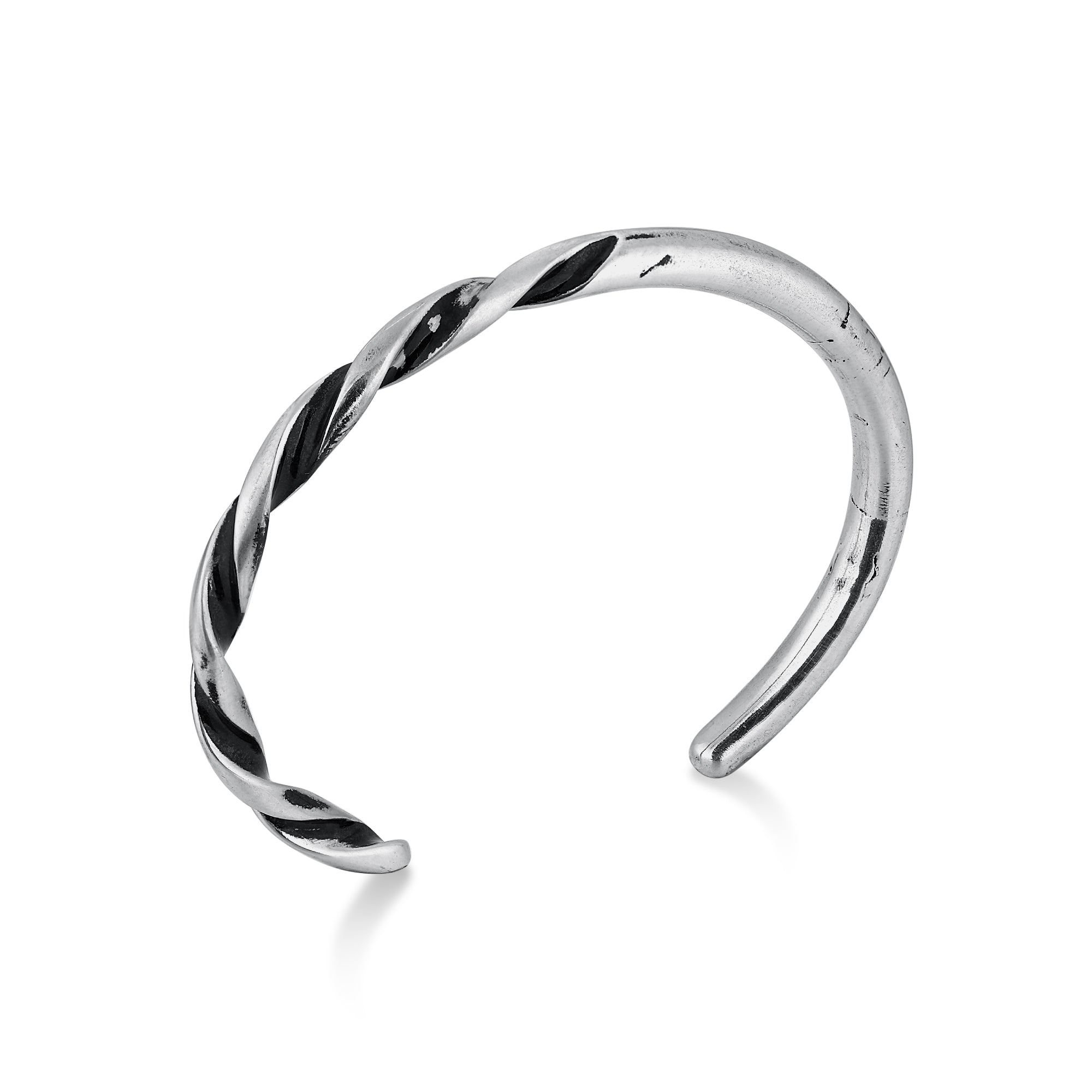 Silver Narrow Cuff Bracelet with Twisted Multi Shaded Surface