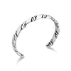 Rhodium Plated Narrow Cuff Bracelet with Rope Details