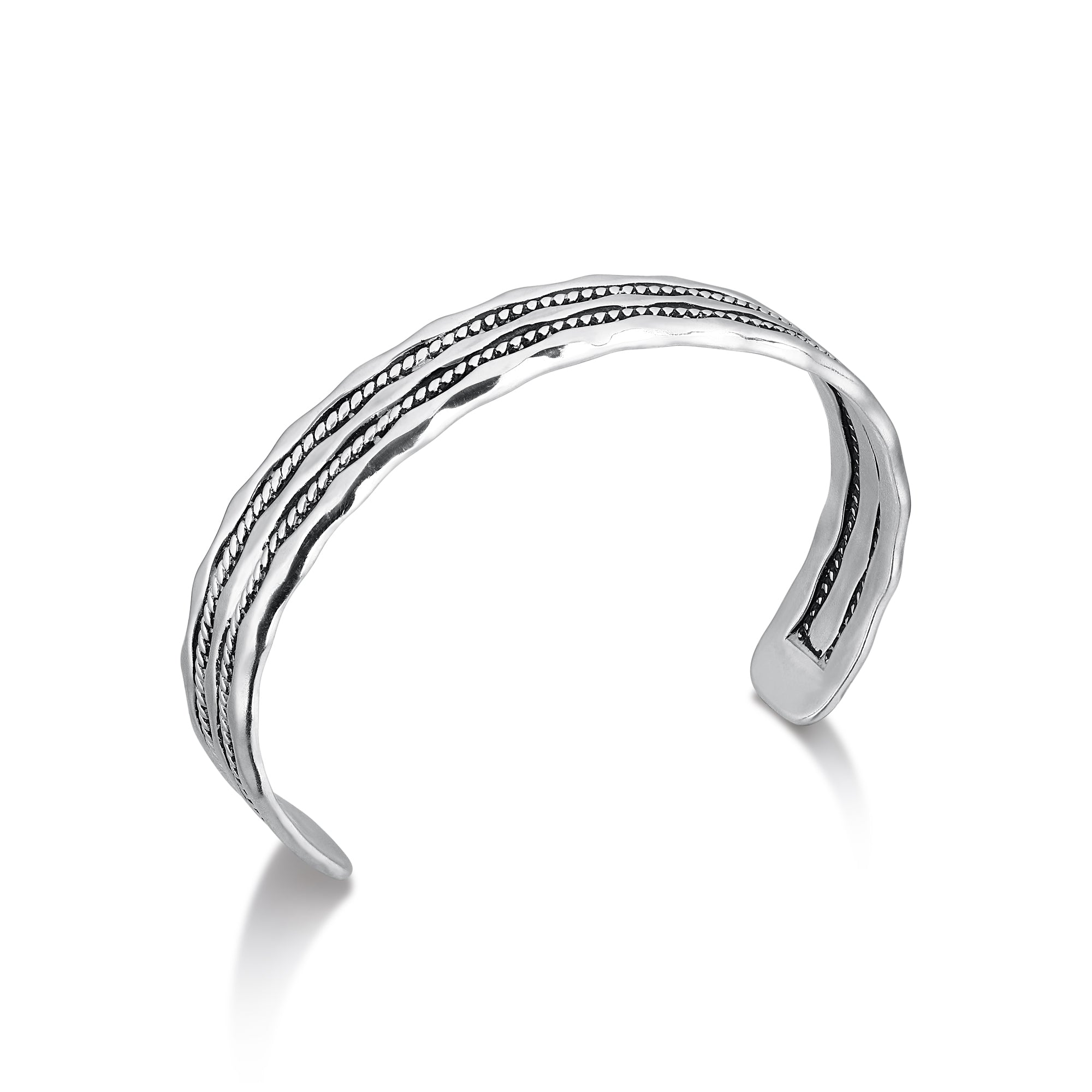 Rhodium Plated Wavy Cuff Bracelet with Wave Detail