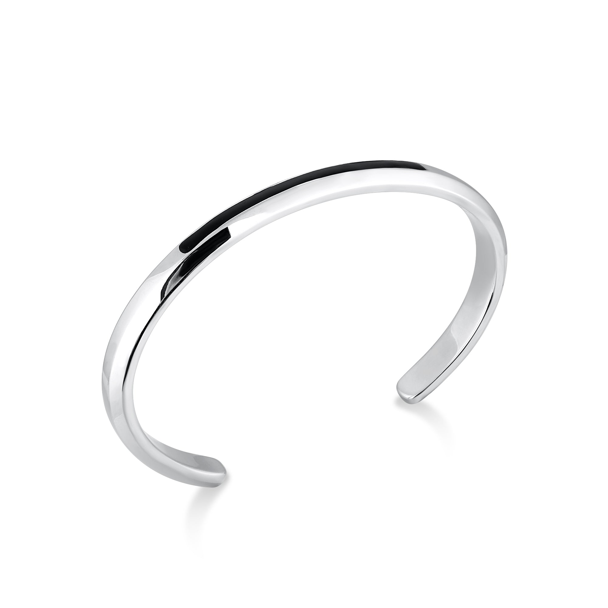 Rhodium Plated Cuff Bracelet with Thin Black Accent Bar