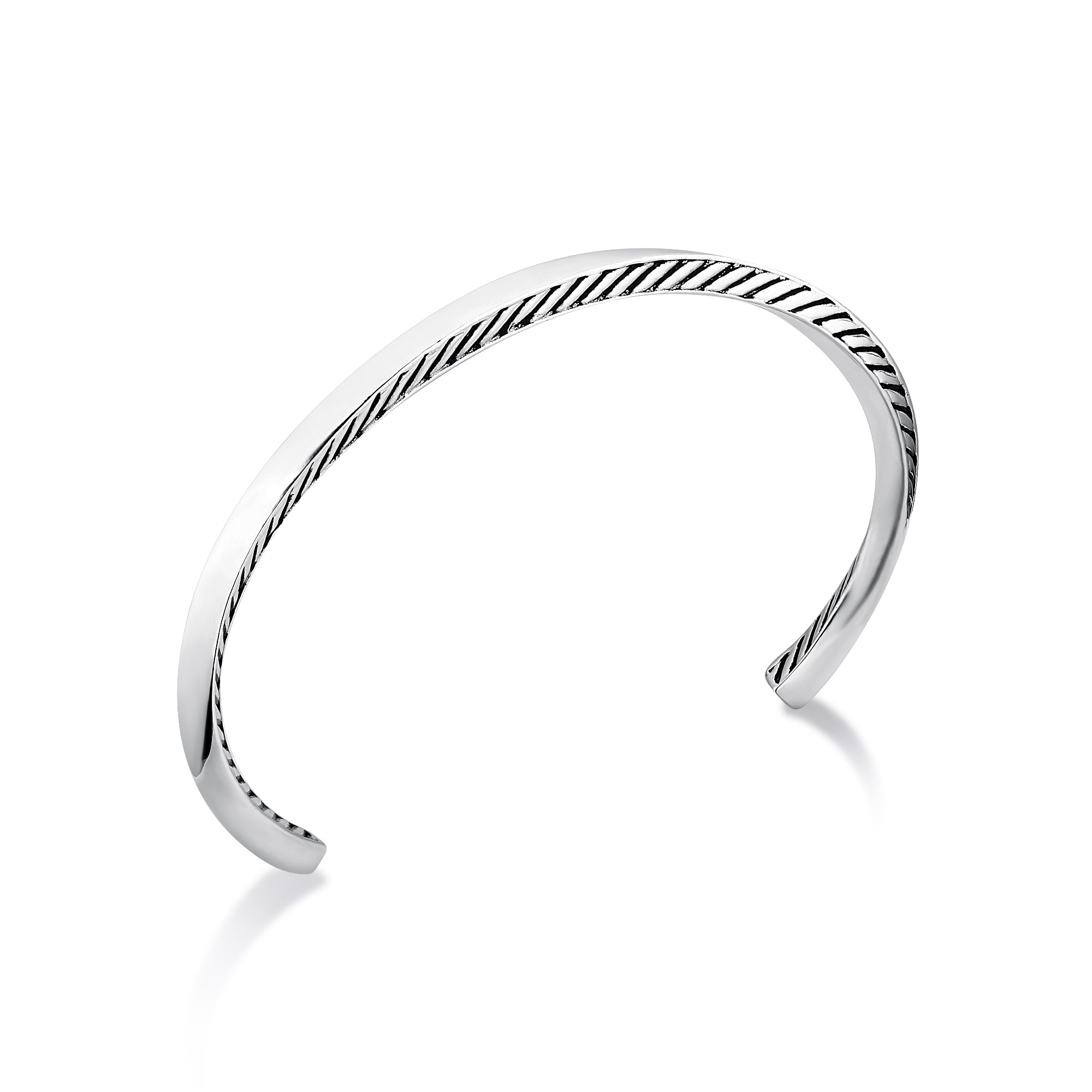 Rhodium Plated Narrow Cuff Bracelet with Etching