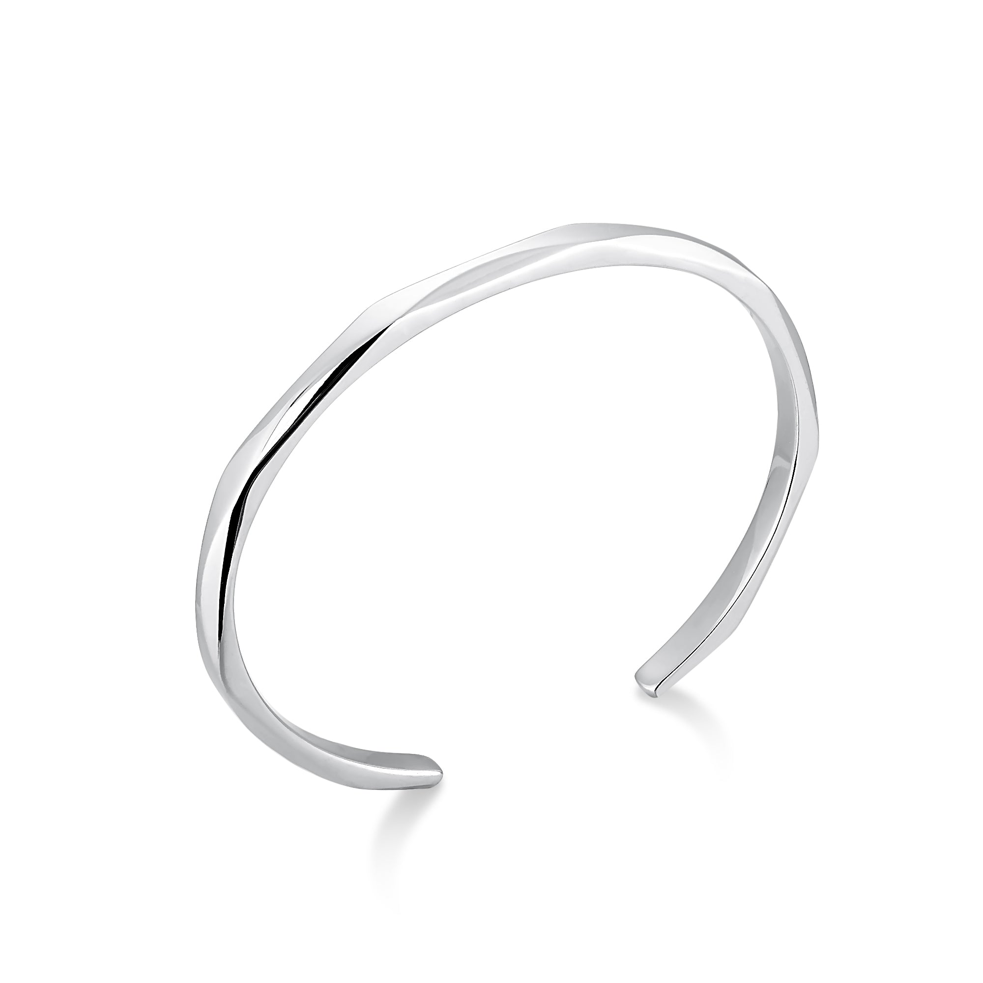 Rhodium Plated Wavy Narrow Cuff Bracelet
