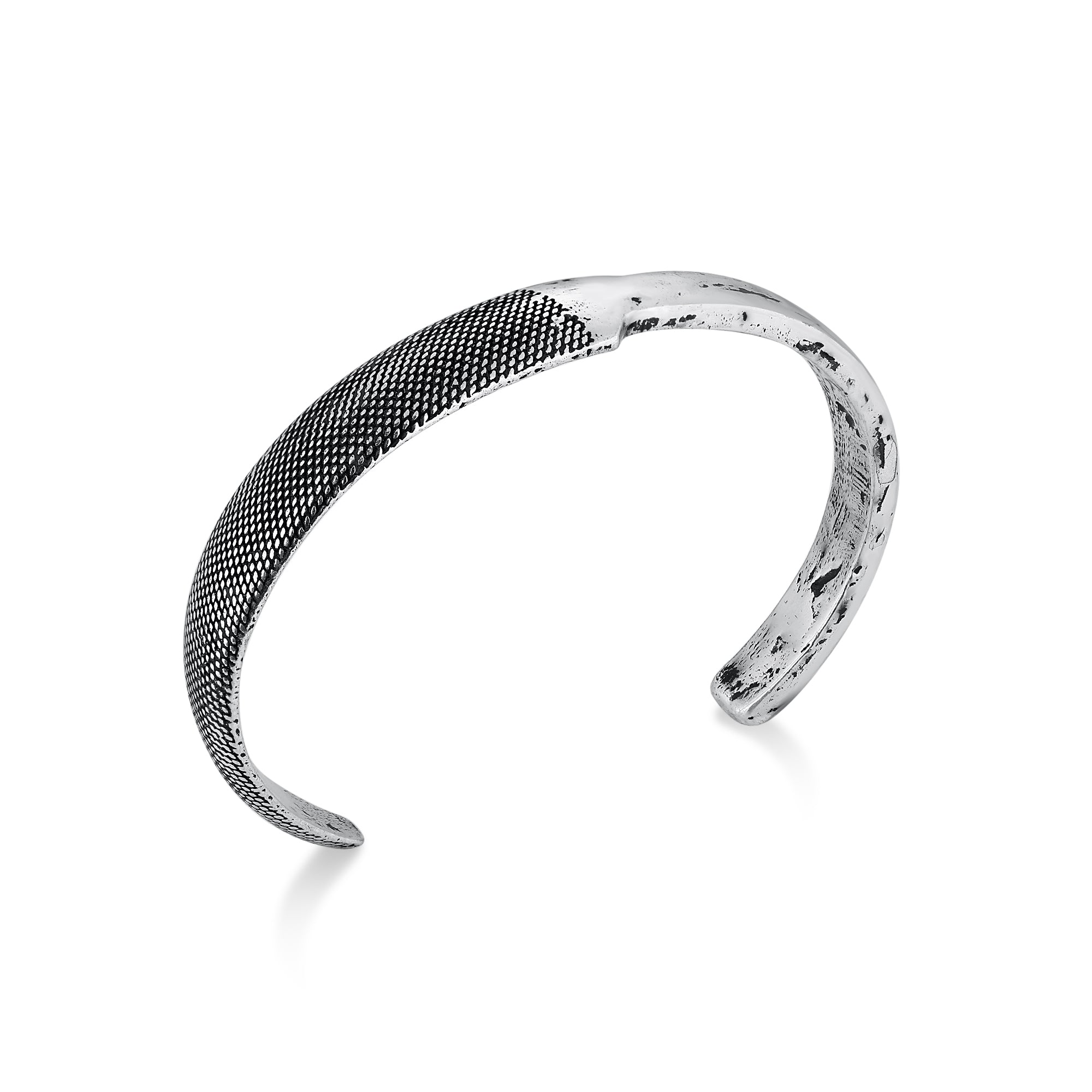 Narrow Cuff Bracelet with Dual Texture