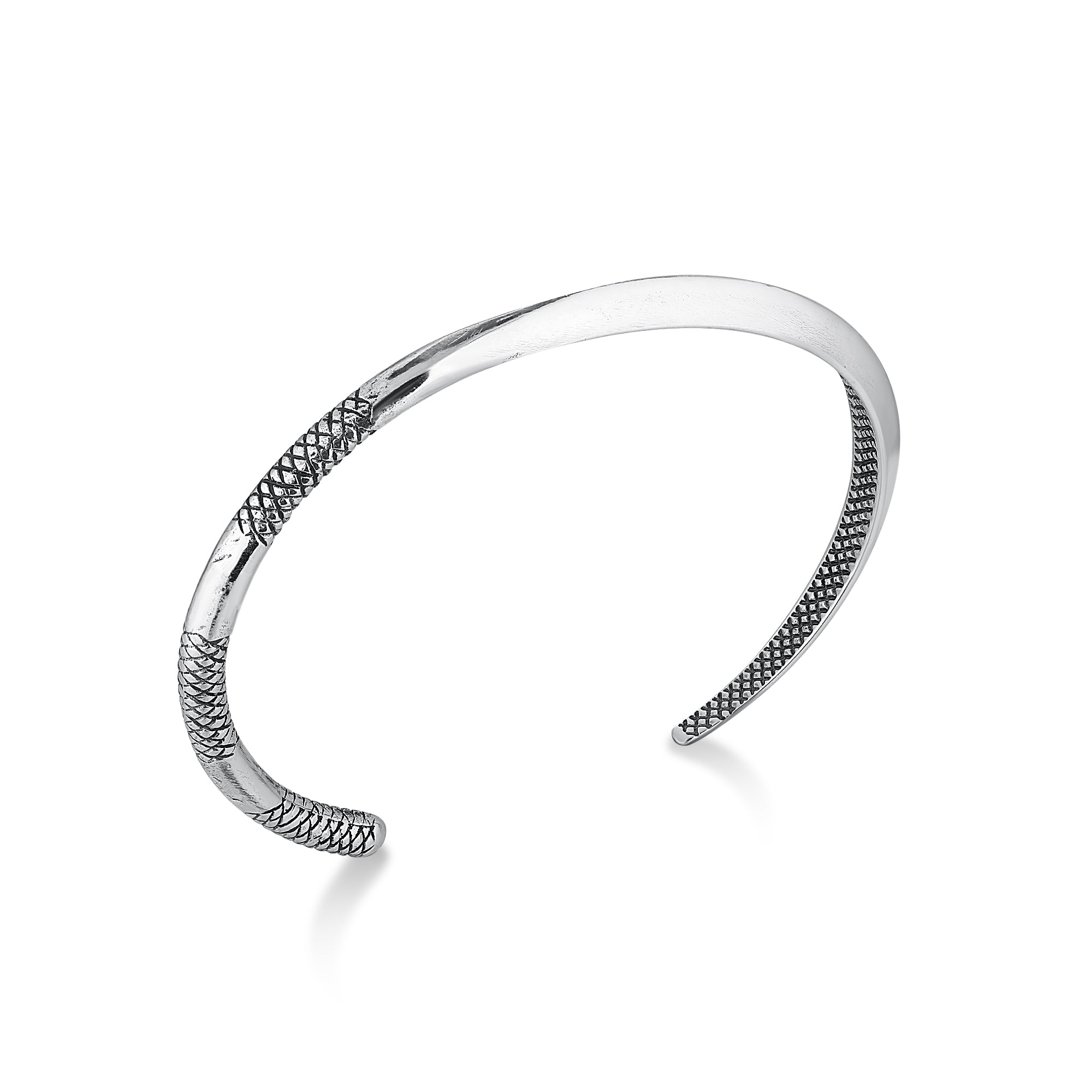 Silver Thin Cuff Bracelet with Crosshatch
