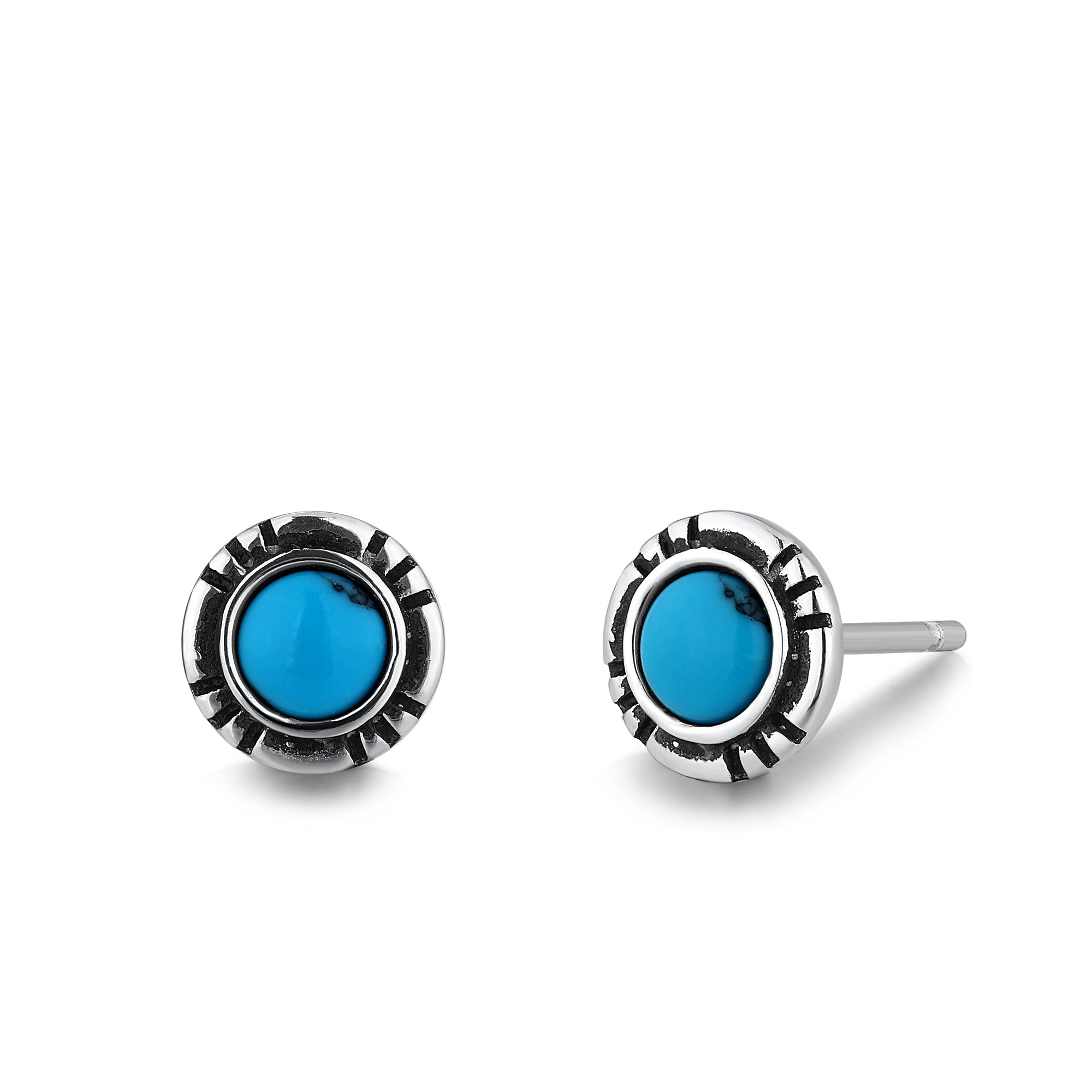 Silver Stud Earrings with Turquoise