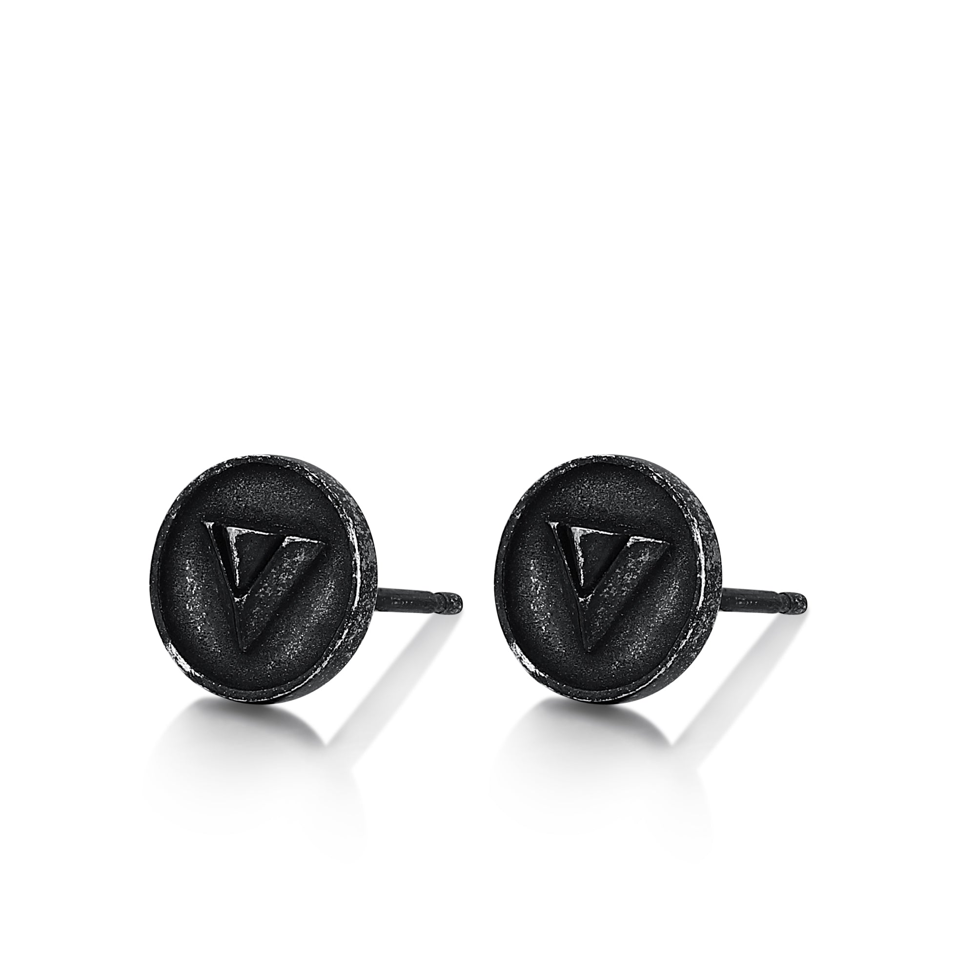 Circular Stud Earrings with Triangle Imprint